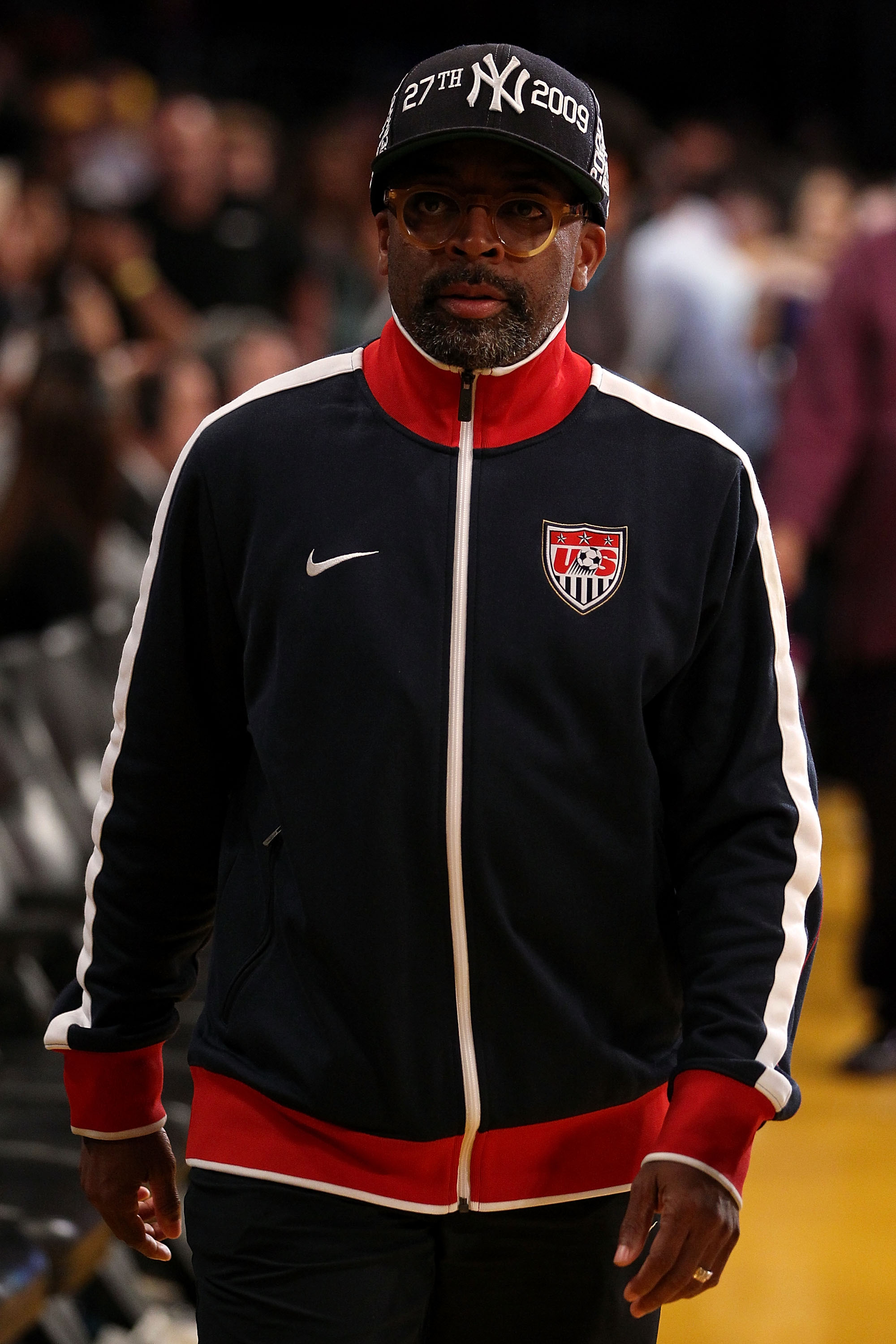 LOS ANGELES, CA - JUNE 15:  Director Spike Lee walks along the sideline in Game Six of the 2010 NBA Finals between the Boston Celtics and the Los Angeles Lakers at Staples Center on June 15, 2010 in Los Angeles, California.  NOTE TO USER: User expressly a