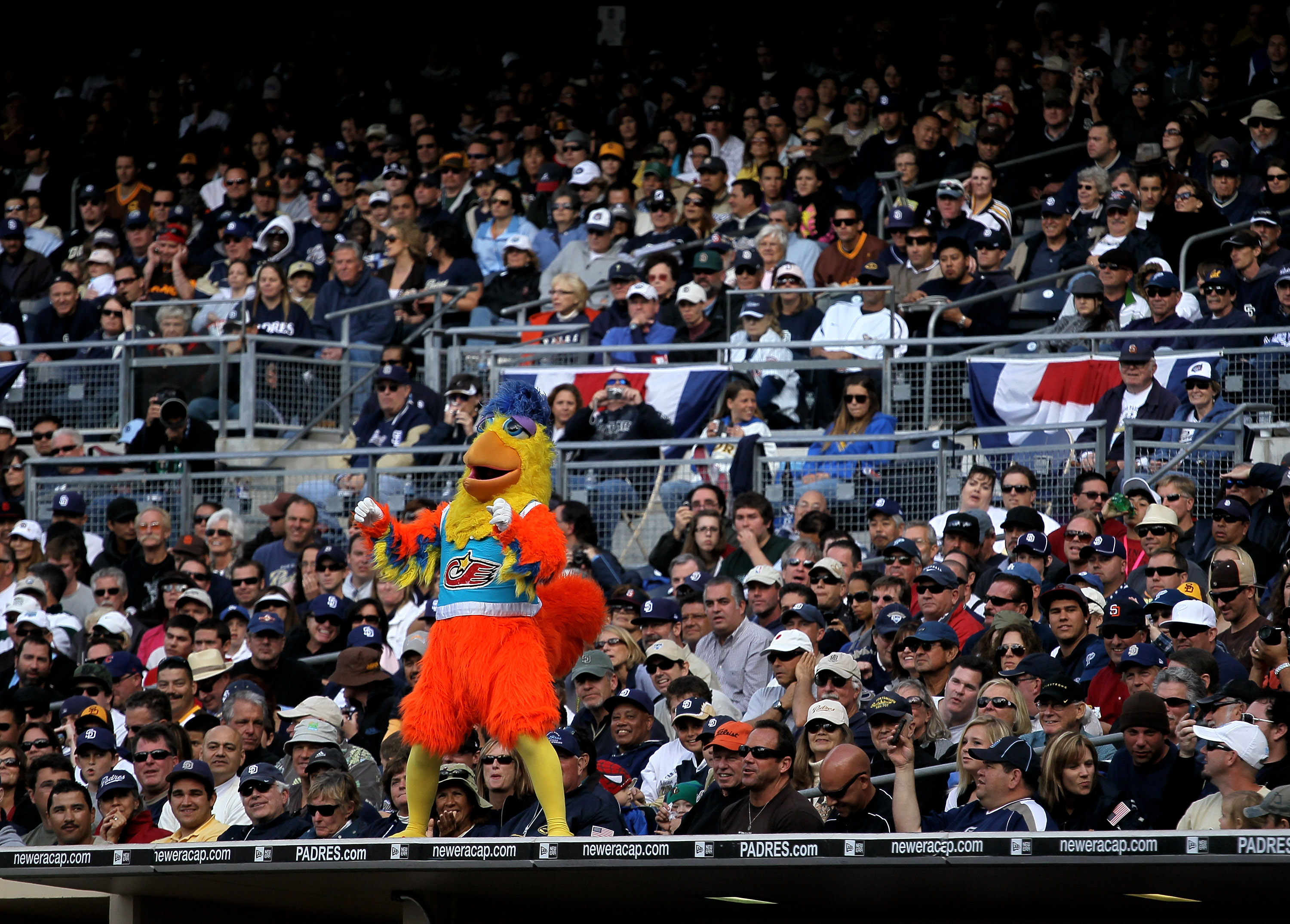 SAN DIEGO - APRIL 12:   The San Diego Chicken performs during the game between the Atlanta Braves and the San Diego Padres on April 12, 2010 at Petco Park in San Diego, California.    (Photo by Stephen Dunn/Getty Images)