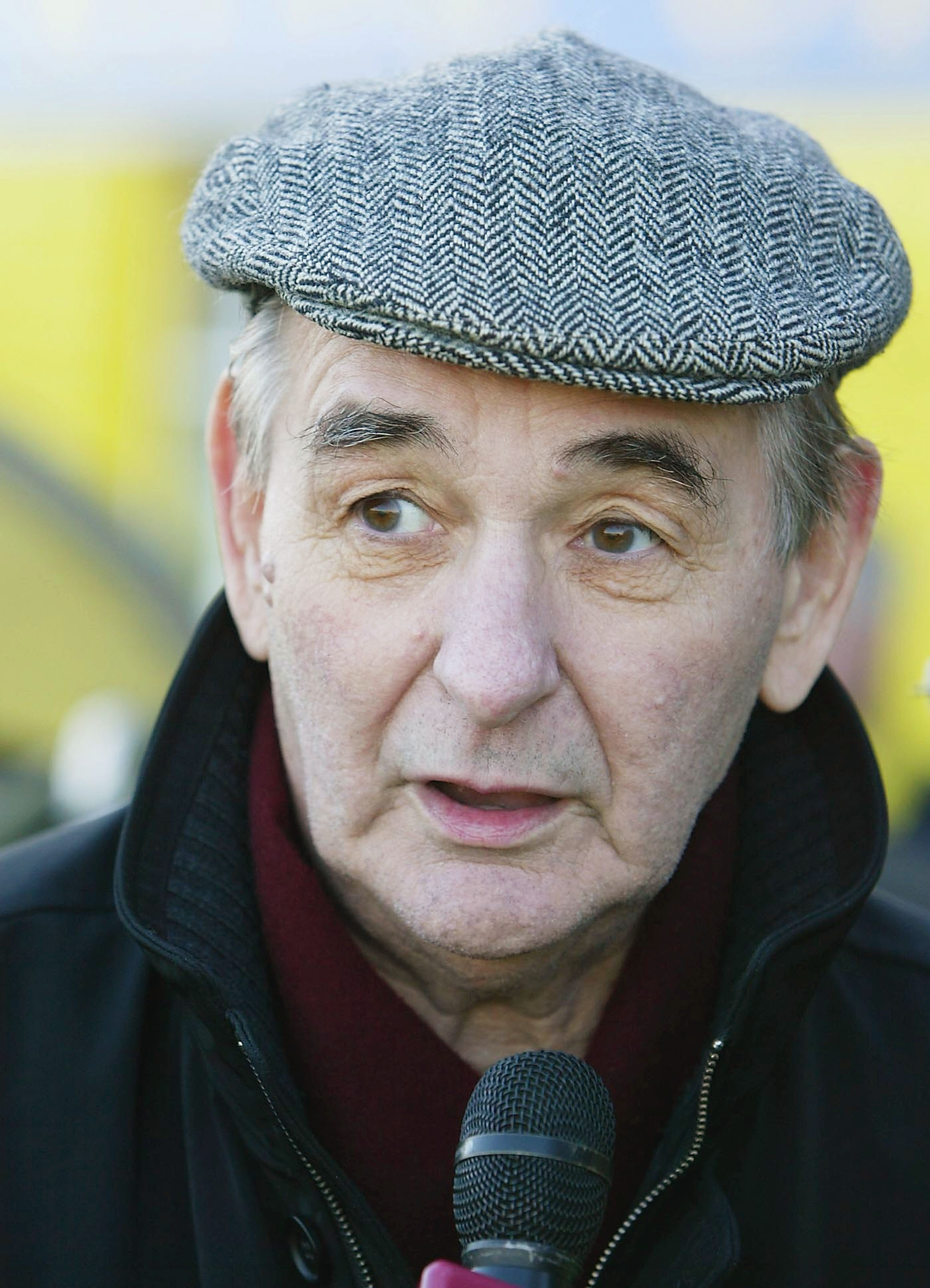 BURTON-ON-TRENT, ENGLAND - DECEMBER 7:  Brian Clough was present to support his son and Burton Albion Manager Nigel during the FA Cup second round match between Burton Albion and Hartlepool United at Eton Park on December 7, 2003 in Burton, England.  (Pho