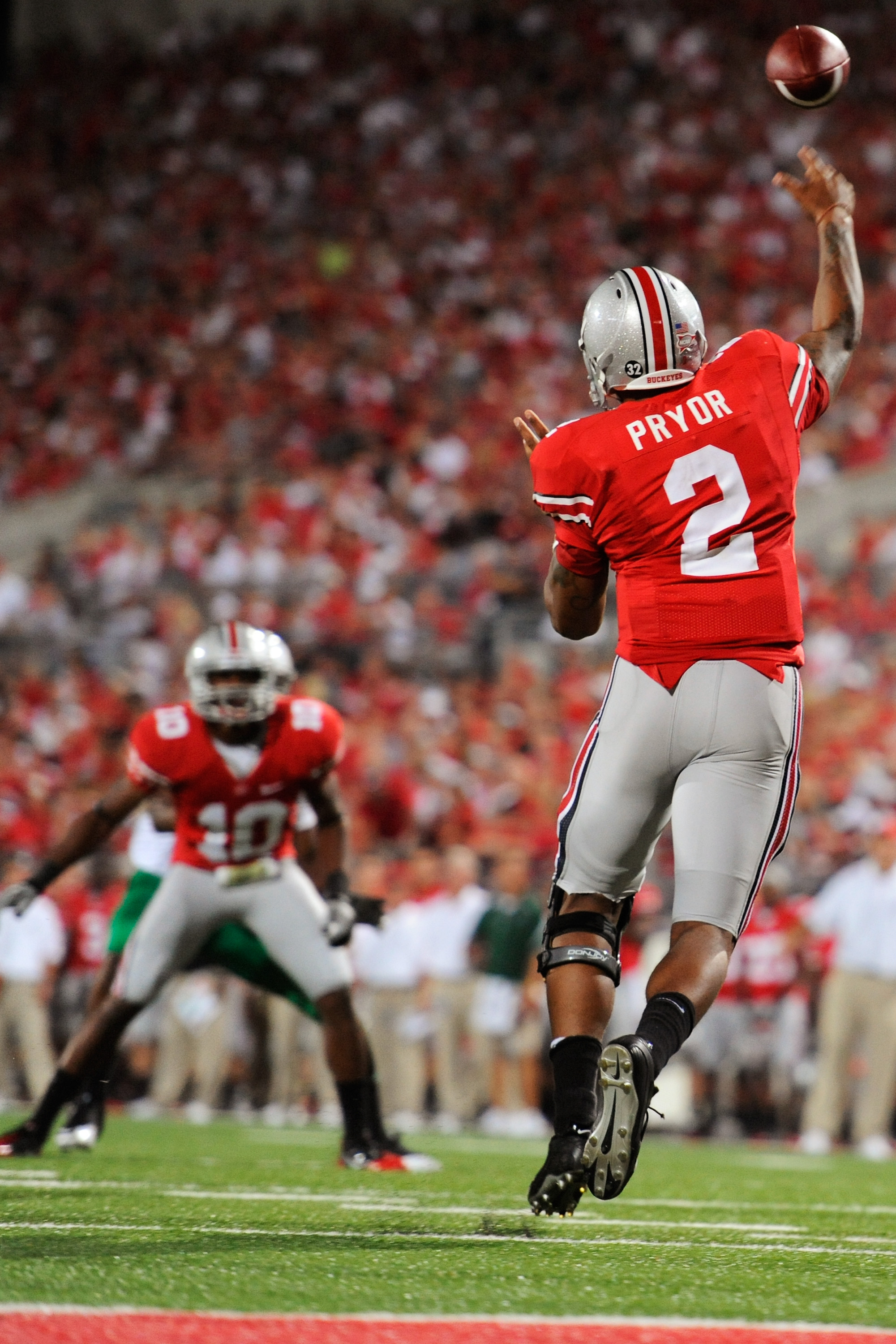 COLUMBUS, OH - SEPTEMBER 2:  Terrelle Pryor #2 of the Ohio State Buckeyes attempts a pass to Corey Brown #10 of the Ohio State Buckeyes against the Marshall Thundering Herd at Ohio Stadium on September 2, 2010 in Columbus, Ohio.  (Photo by Jamie Sabau/Get
