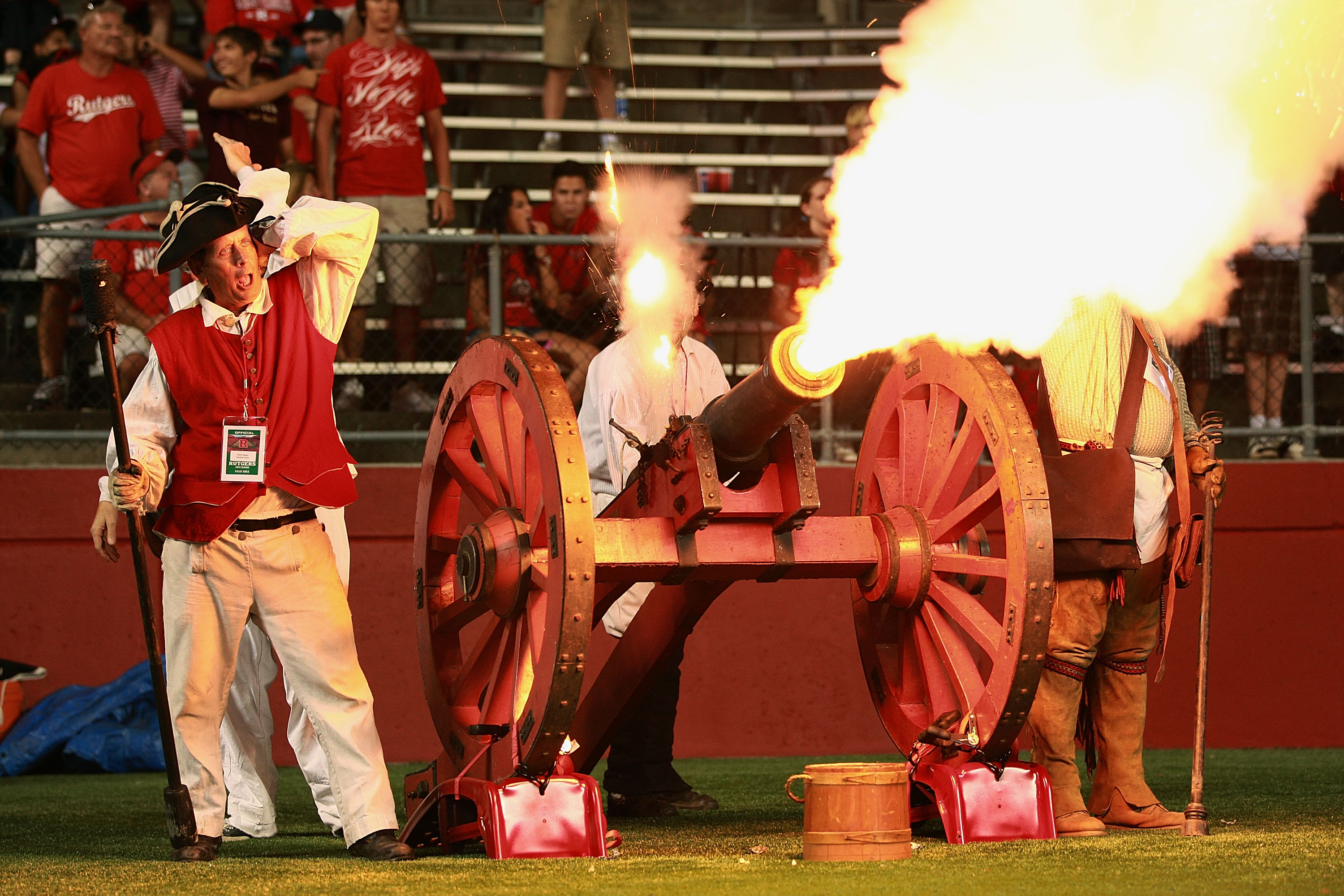 NEW BRUNSWICK, NJ - SEPTEMBER 02:  The Rutgers cannon is set off after a successful field goal kick against the Norfolk State Spartans at Rutgers Stadium on September 2, 2010 in New Brunswick, New Jersey.  It was the first time the cannon had ever been us