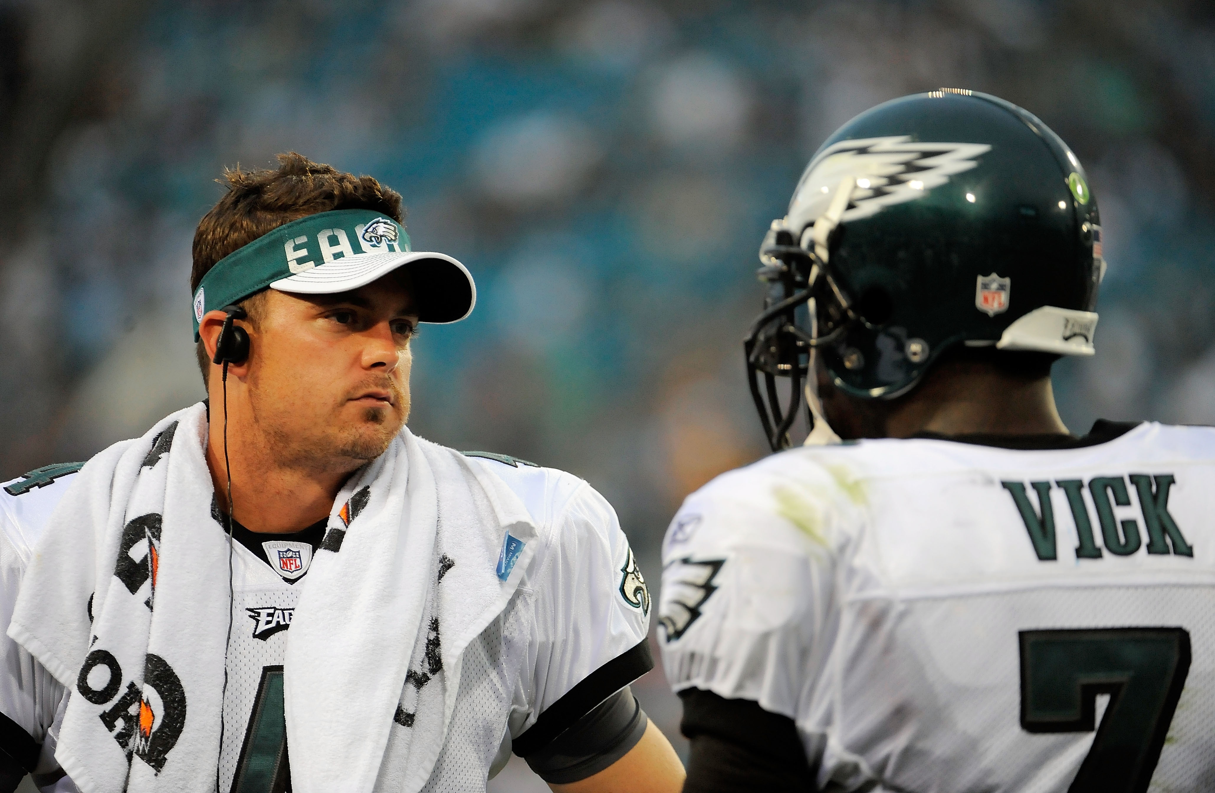 JACKSONVILLE, FL - SEPTEMBER 26:  Quarterbacks Kevin Kolb #4 and Michael Vick #7 of the Philadelphia Eagles talk on the sidelines during a time-out against the Jacksonville Jaguars at EverBank Field on September 26, 2010 in Jacksonville, Florida. The Eagl