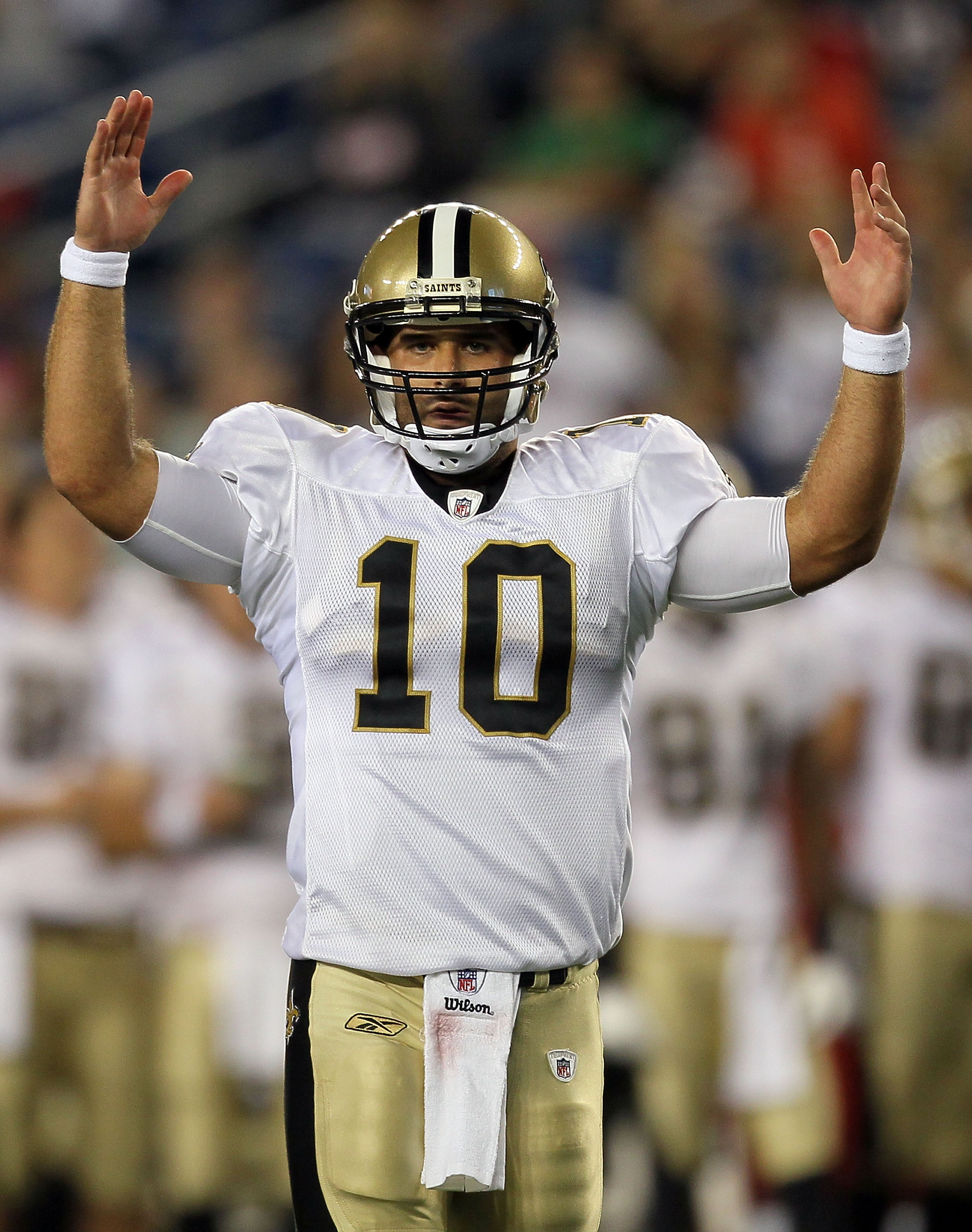 FOXBORO, MA - AUGUST 12: Chase Daniel # 10 of the New Orleans Saints reacts in the second half of the the preseason game against the New England Patriots at Gillette Stadium on August 12, 2010 in Foxboro, Massachusetts. (Photo by Jim Rogash/Getty Images)