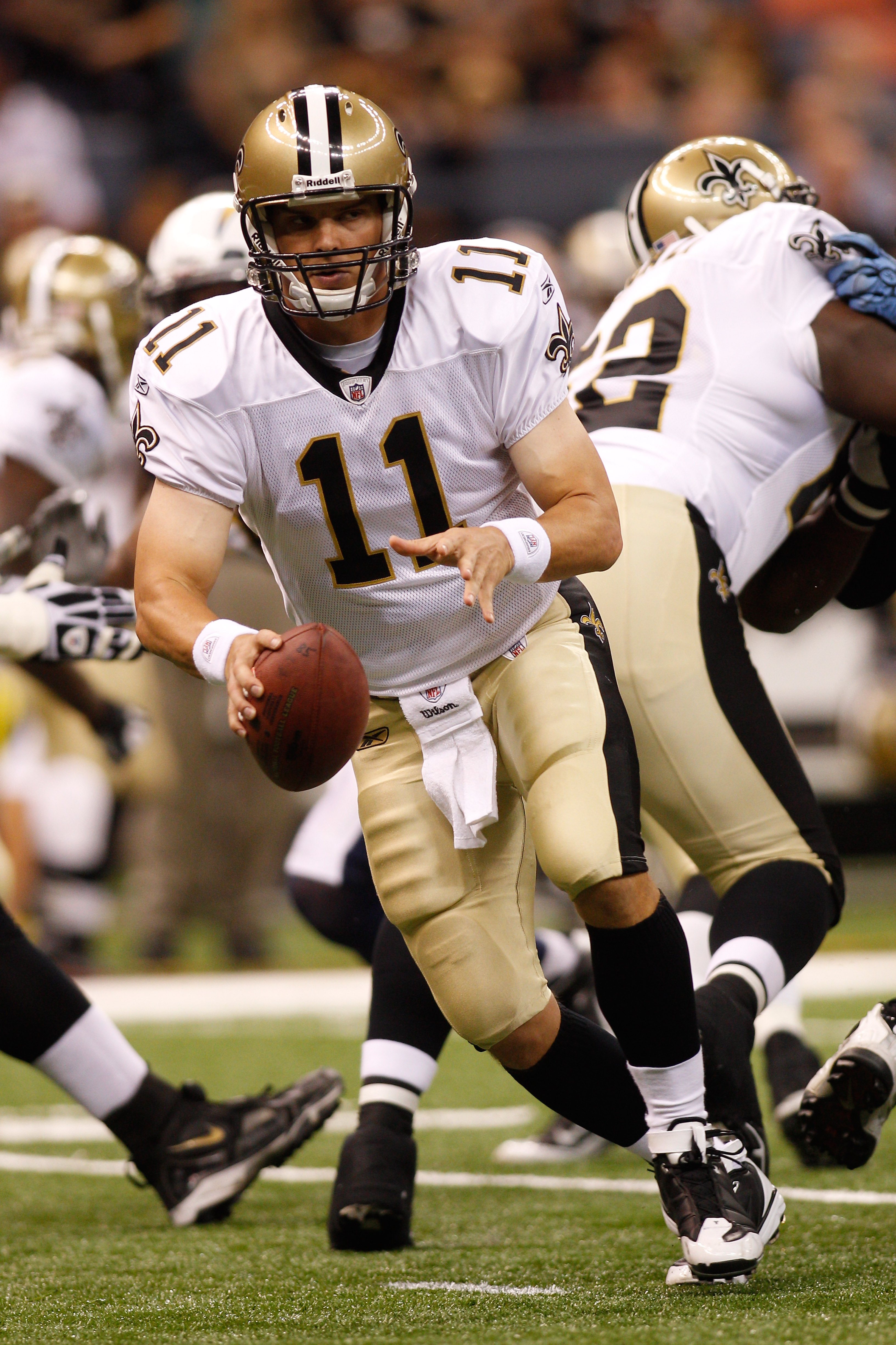 NEW ORLEANS - AUGUST 27:  Patrick Ramsey #11 of the New Orleans Saints in action against the San Diego Chargers at the Louisiana Superdome on August 27, 2010 in New Orleans, Louisiana.  (Photo by Chris Graythen/Getty Images)