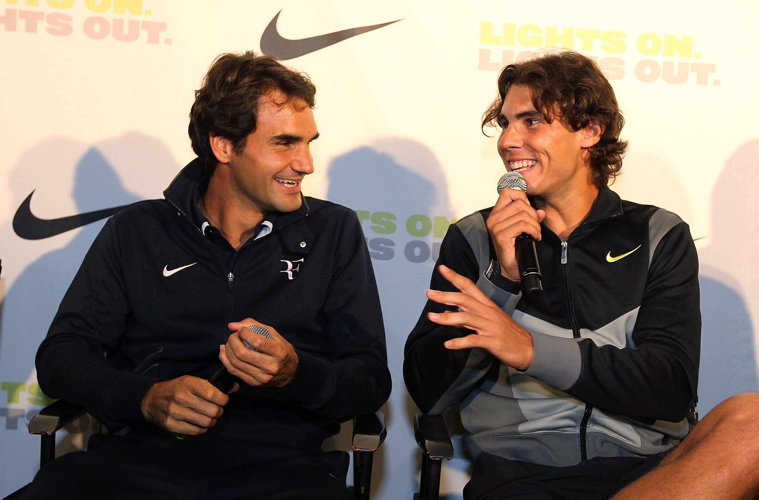 NEW YORK - AUGUST 25:  Roger Federe and Rafael Nadal appear at a press conference following The Nike Primetime Knockout Tennis Event at Pier 54 on August 25, 2010 in New York City.  (Photo By Al Bello/Getty Images for Nike)