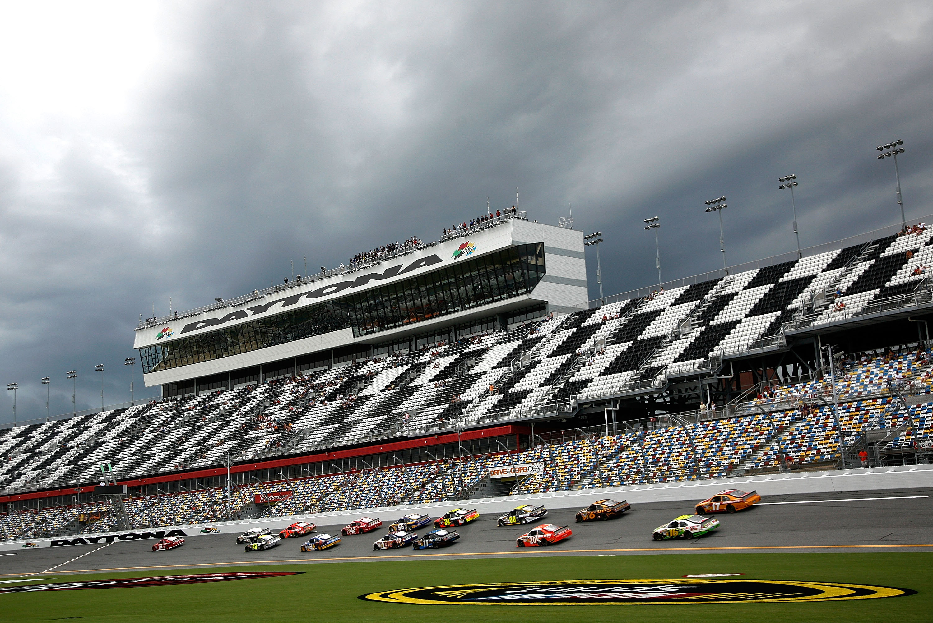 DAYTONA BEACH, FL - JULY 01:  Cars practice for the NASCAR Sprint Cup Series Coke Zero 400 at Daytona International Speedway on July 1, 2010 in Daytona Beach, Florida.  (Photo by Jerry Markland/Getty Images for NASCAR)