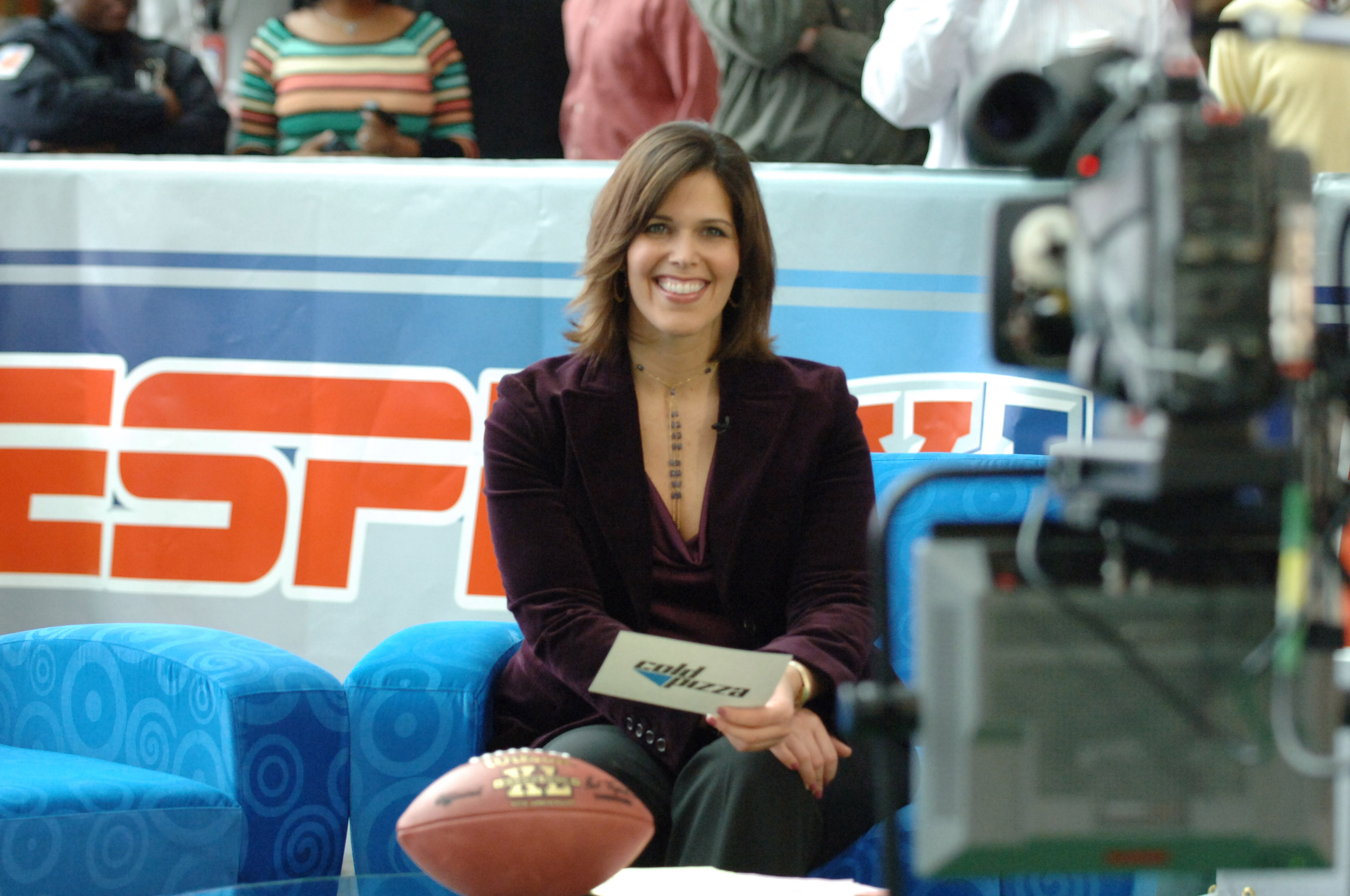 Dana Jacobson during a broadcast of ESPN's Cold Pizza from the Super Bowl XL Media Center at the Renaissance Center in Detroit, Michigan on January 30, 2006.  (Photo by Al Messerschmidt/Getty Images)