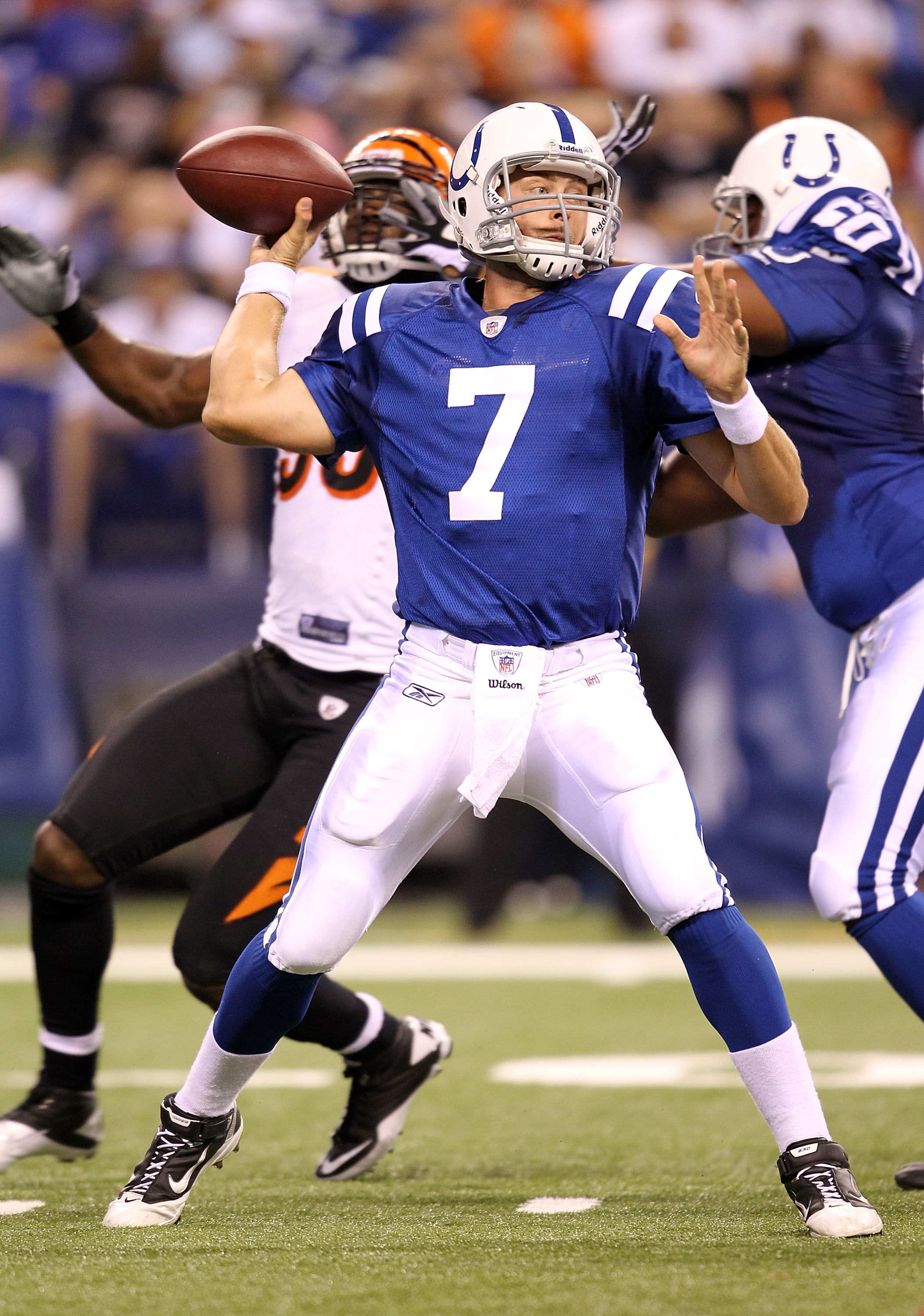 INDIANAPOLIS - SEPTEMBER 02:  Curtis Painter #7 of the Indianapolis Colts throws a pass against the Cincinnati Bengals during the NFL preseason game at Lucas Oil Stadium on September 2, 2010 in Indianapolis, Indiana.  (Photo by Andy Lyons/Getty Images)