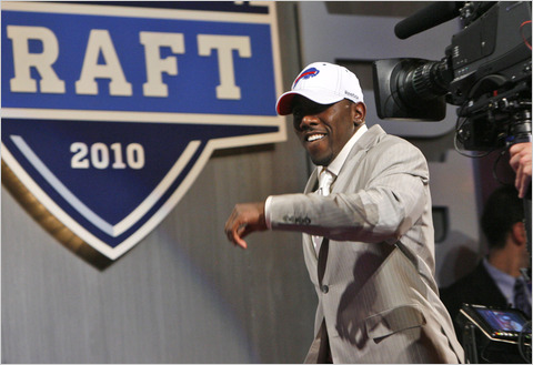 Top 10 pick C.J. Spiller is all smiles at the draft