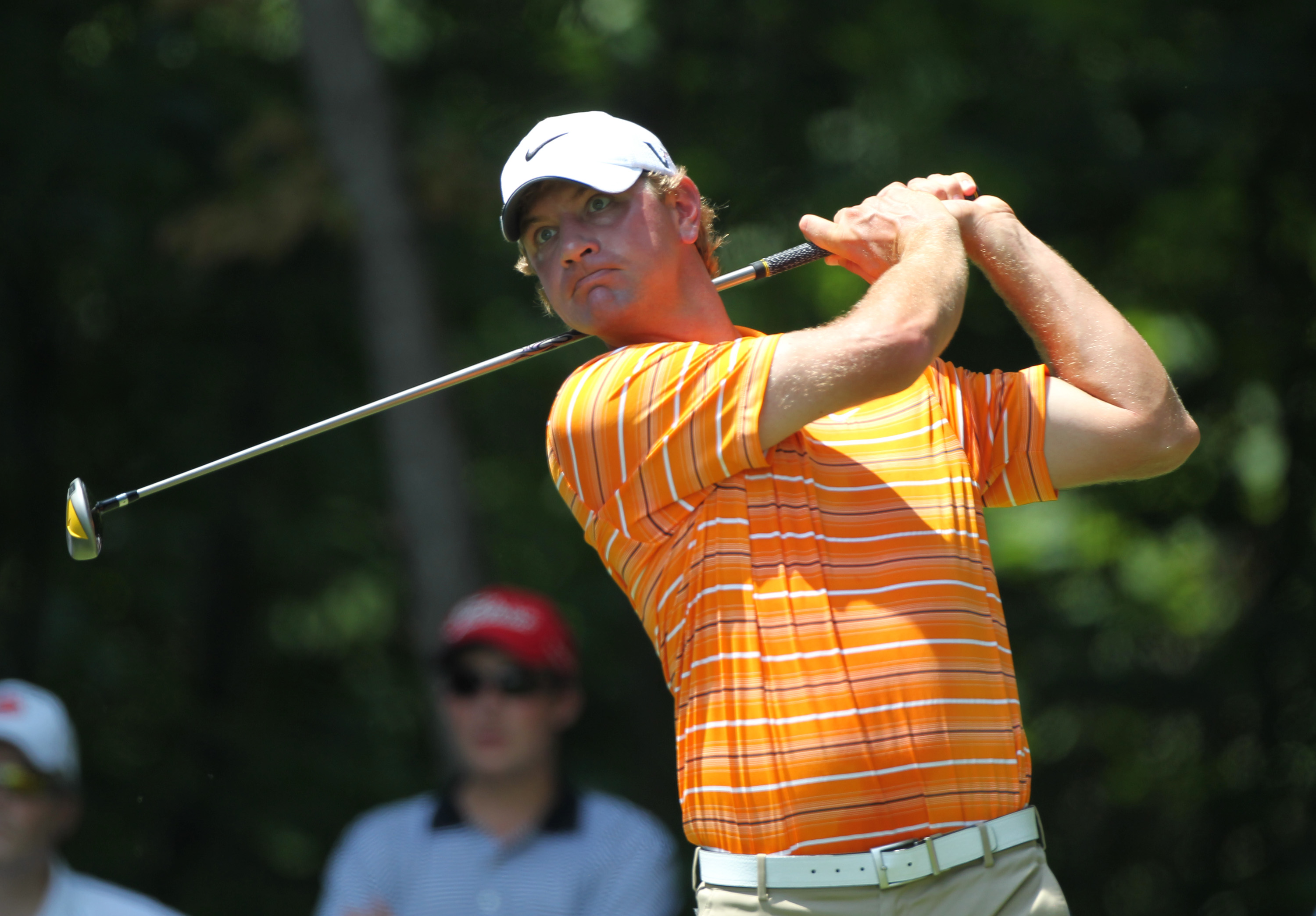 GREENSBORO, NC - AUGUST 21: Lucas Glover hits his tee shot on the second hole during the third round of the Wyndham Championship at Sedgefield Country Club on August 21, 2010 in Greensboro, North Carolina. (Photo by Hunter Martin/Getty Images)