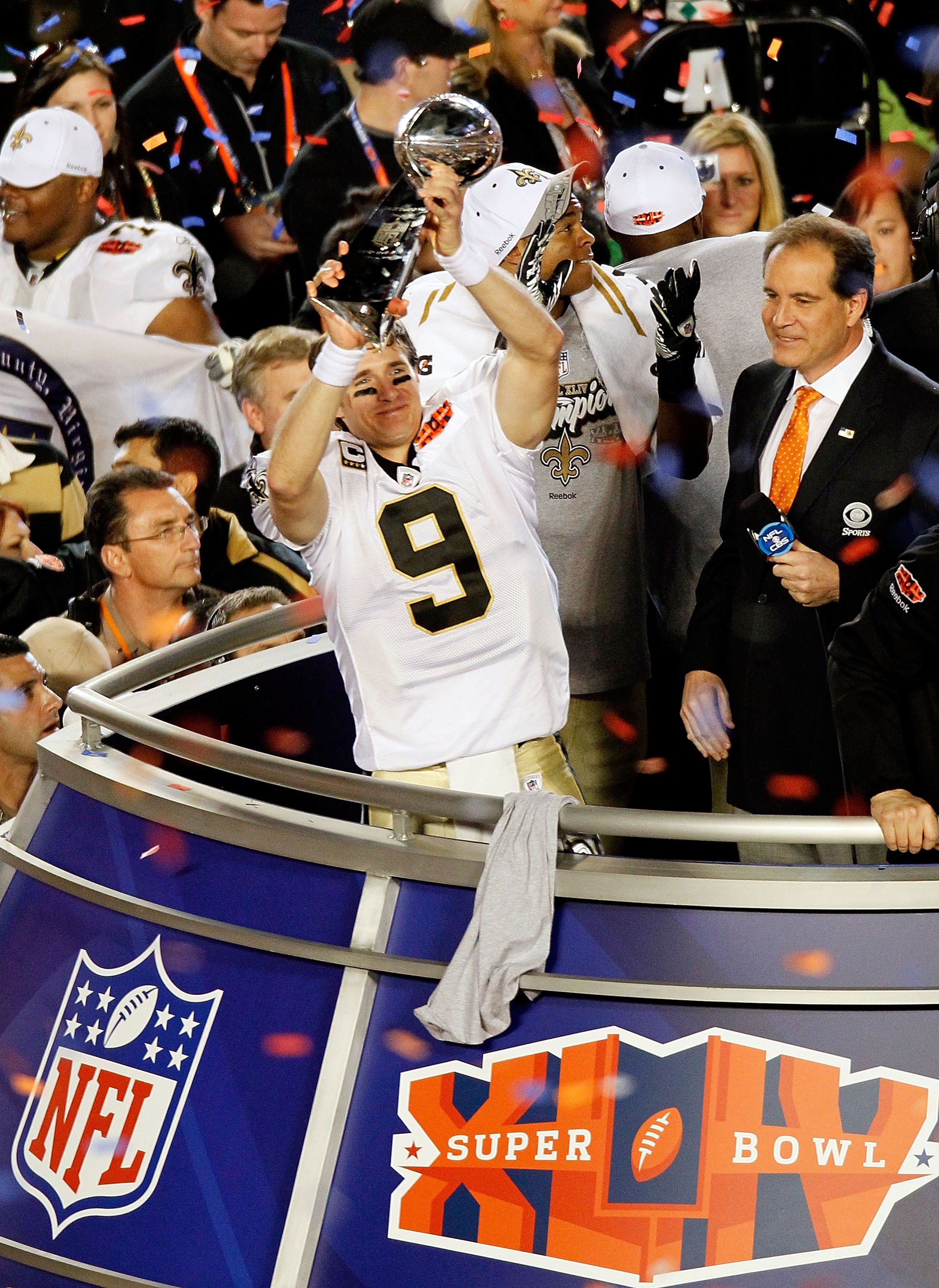 MIAMI GARDENS, FL - FEBRUARY 07:  Quarterback Drew Brees #9 of the New Orleans Saints celebrates after his team defeated the Indianapolis Colts during Super Bowl XLIV on February 7, 2010 at Sun Life Stadium in Miami Gardens, Florida.  (Photo by Doug Benc/