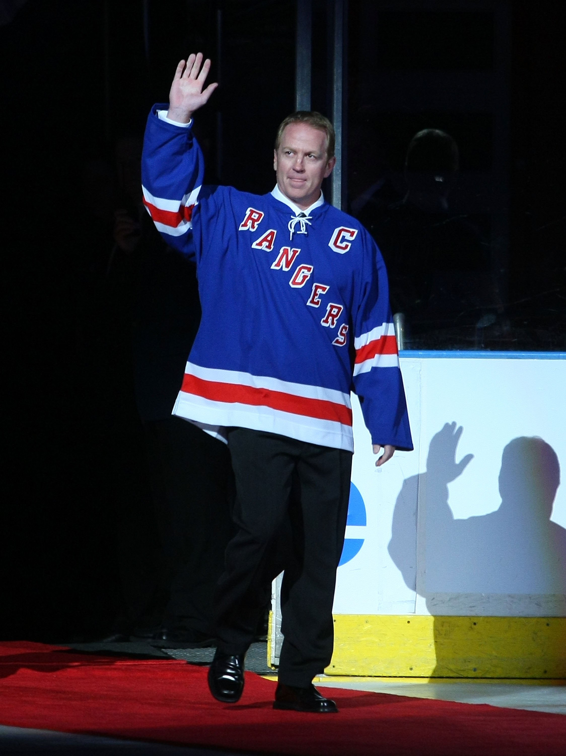 NEW YORK - FEBRUARY 22: Former New York Ranger Brian Leetch attends the ceremony honoring Andy Bathgate and Harry Howell prior to the game between the Toronto Maple Leafs and the New York Rangers on February 22, 2009 at Madison Square Garden in New York C