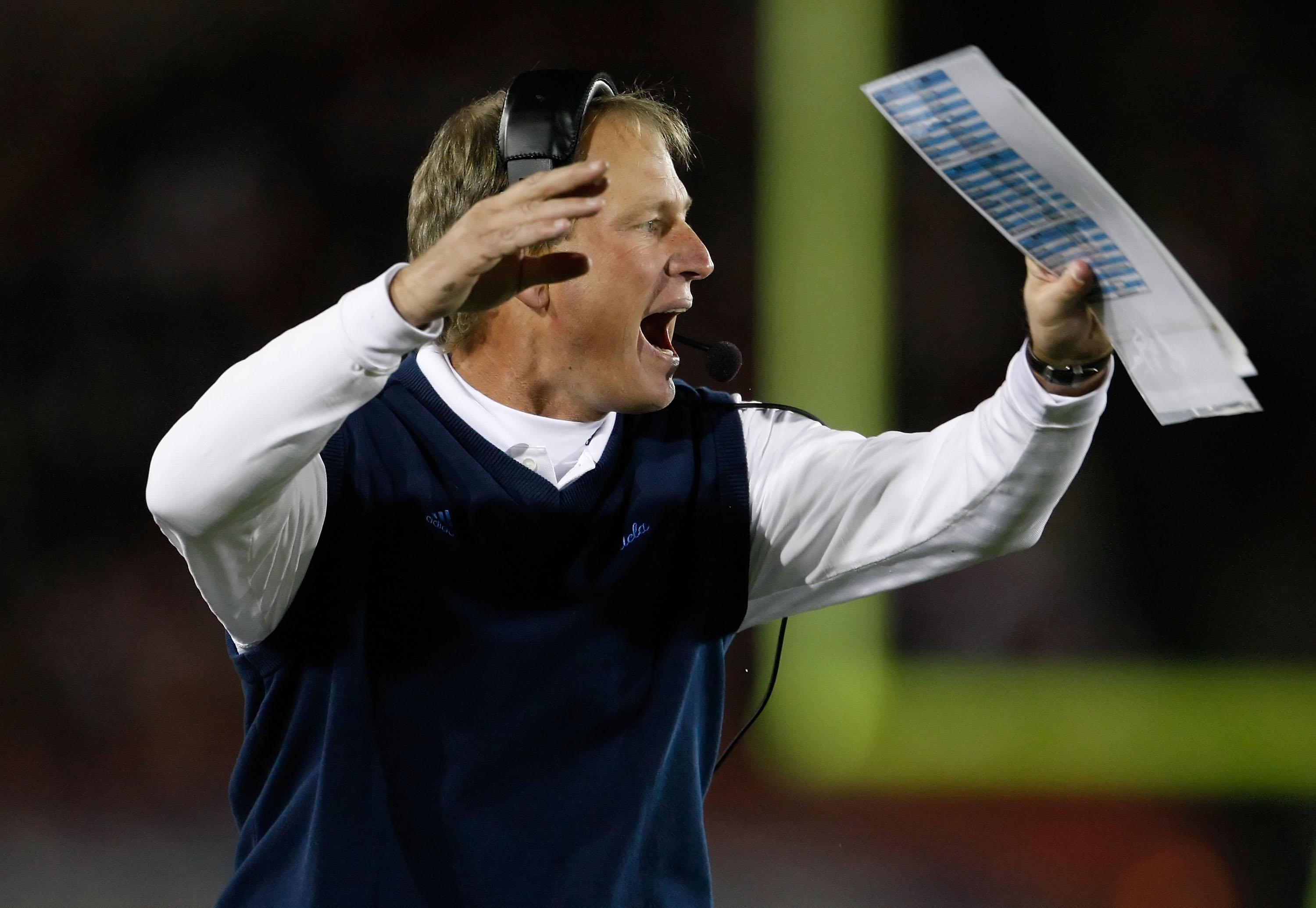 LOS ANGELES, CA - NOVEMBER 28:  UCLA Bruins head coach Rick Neuheisel reacts to a call in the second half against the USC Trojans at the Los Angeles Memorial Coliseum on November 28, 2009 in Los Angeles, California. USC defeated UCLA 28-7.  (Photo by Jeff