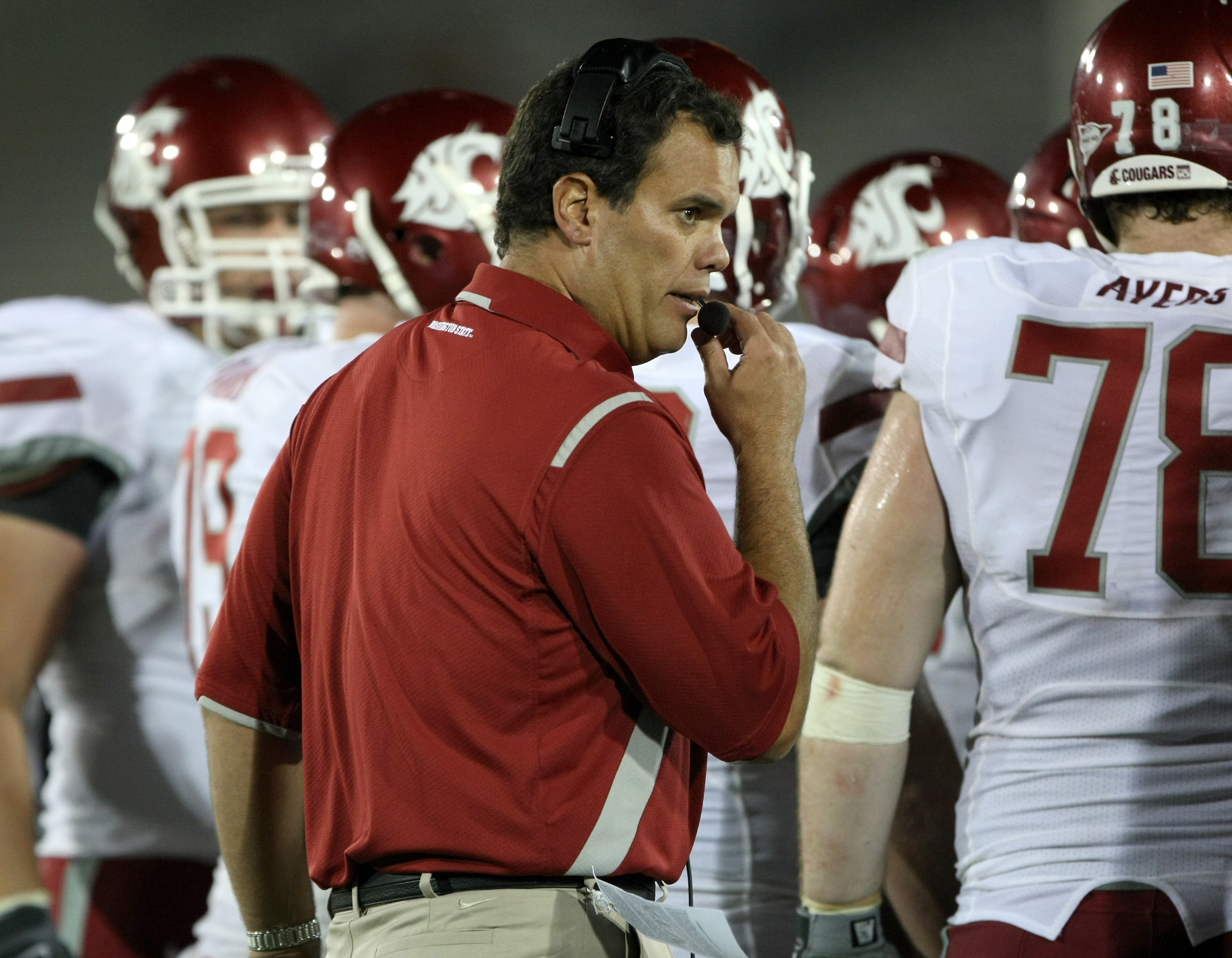LOS ANGELES, CA - SEPTEMBER 26:  Head coach Paul Wulff of the Washington State Cougars works during the game with the USC Trojans on September 23, 2009 at the Los Angeles Coliseum in Los Angeles, California.  USC won 27-6.  (Photo by Stephen Dunn/Getty Im