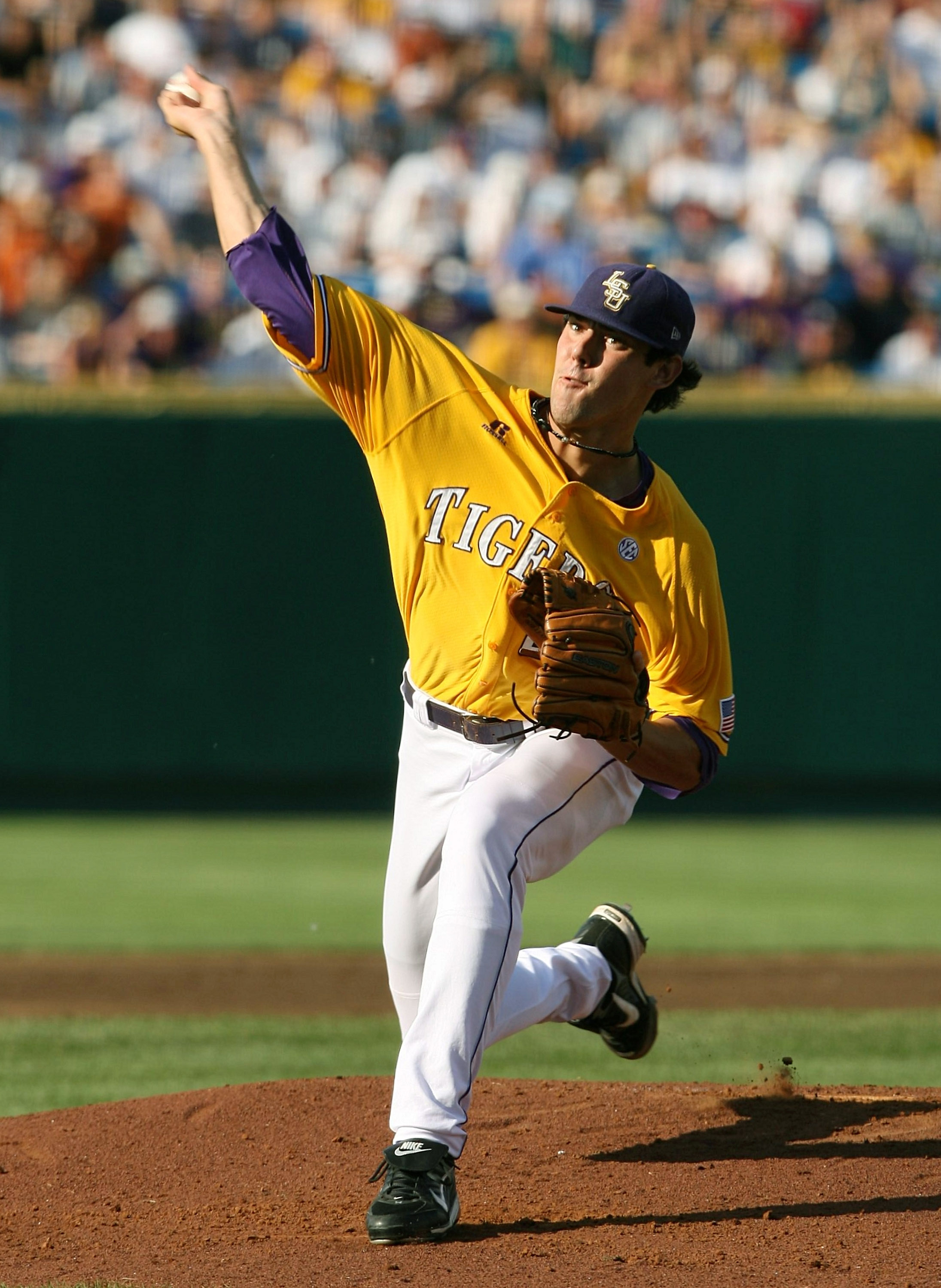 OMAHA, NE - JUNE 24:  Pitcher Anthony Ranaudo #23 of the Louisiana State University Tigers pitches in the first inning against the Texas Longhorns during Game 3 of the 2009 NCAA College World Series at Rosenblatt Stadium on June 24, 2009 in Omaha, Nebrask
