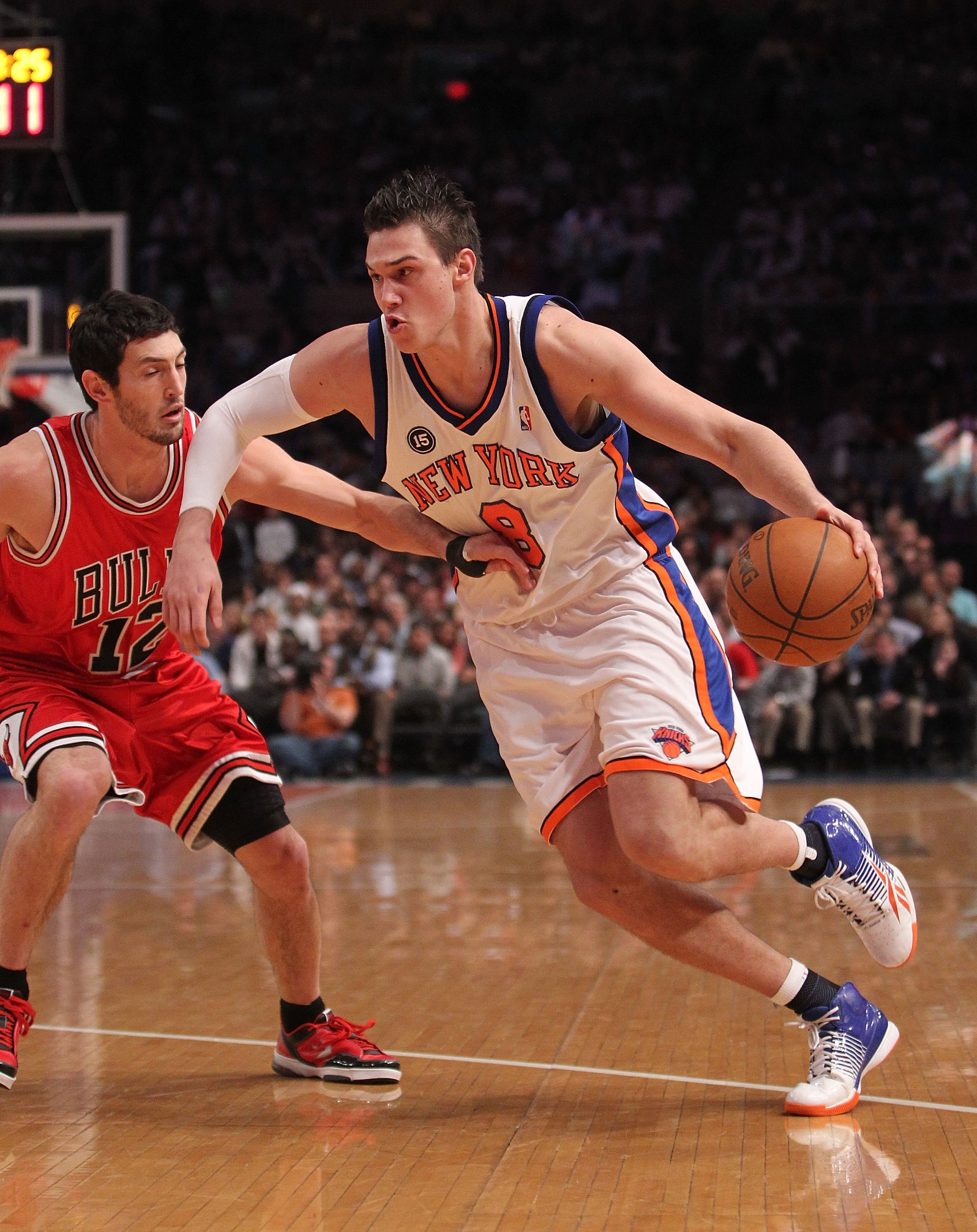 NEW YORK - FEBRUARY 17:  Danilo Gallinari #8 of the New York Knicks dribbles against the Chicago Bulls at Madison Square Garden on February 17, 2010 in New York, New York. NOTE TO USER: User expressly acknowledges and agrees that, by downloading and or us