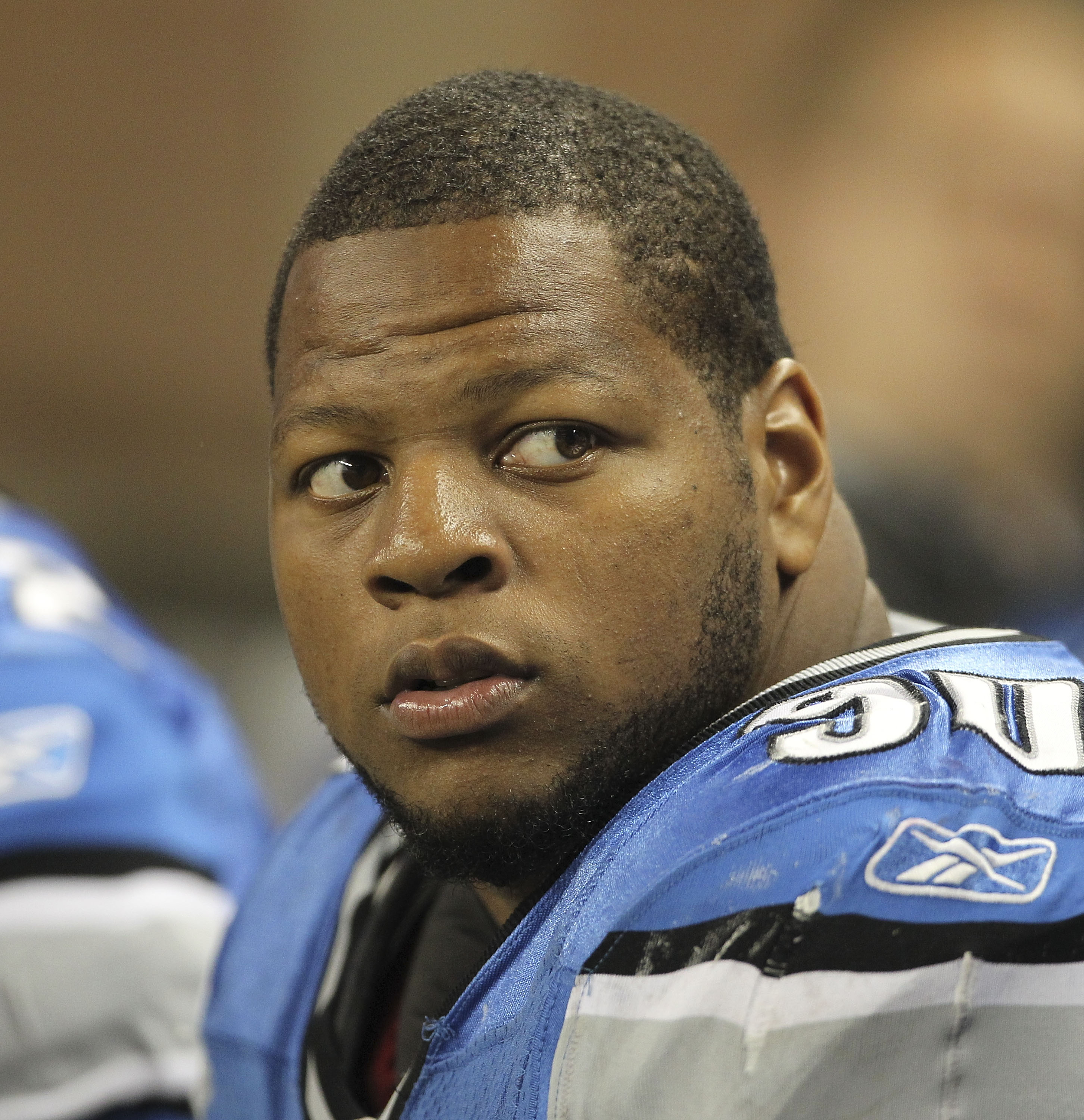 DETROIT - SEPTEMBER 02: Ndamukong Suh #90 of the Detroit Lions watches the action during the preseason game against the Buffalo Bills at Ford Field on September 2, 2010 in Detroit, Michigan. The Lions defeated the Bills 28-23.  (Photo by Leon Halip/Getty