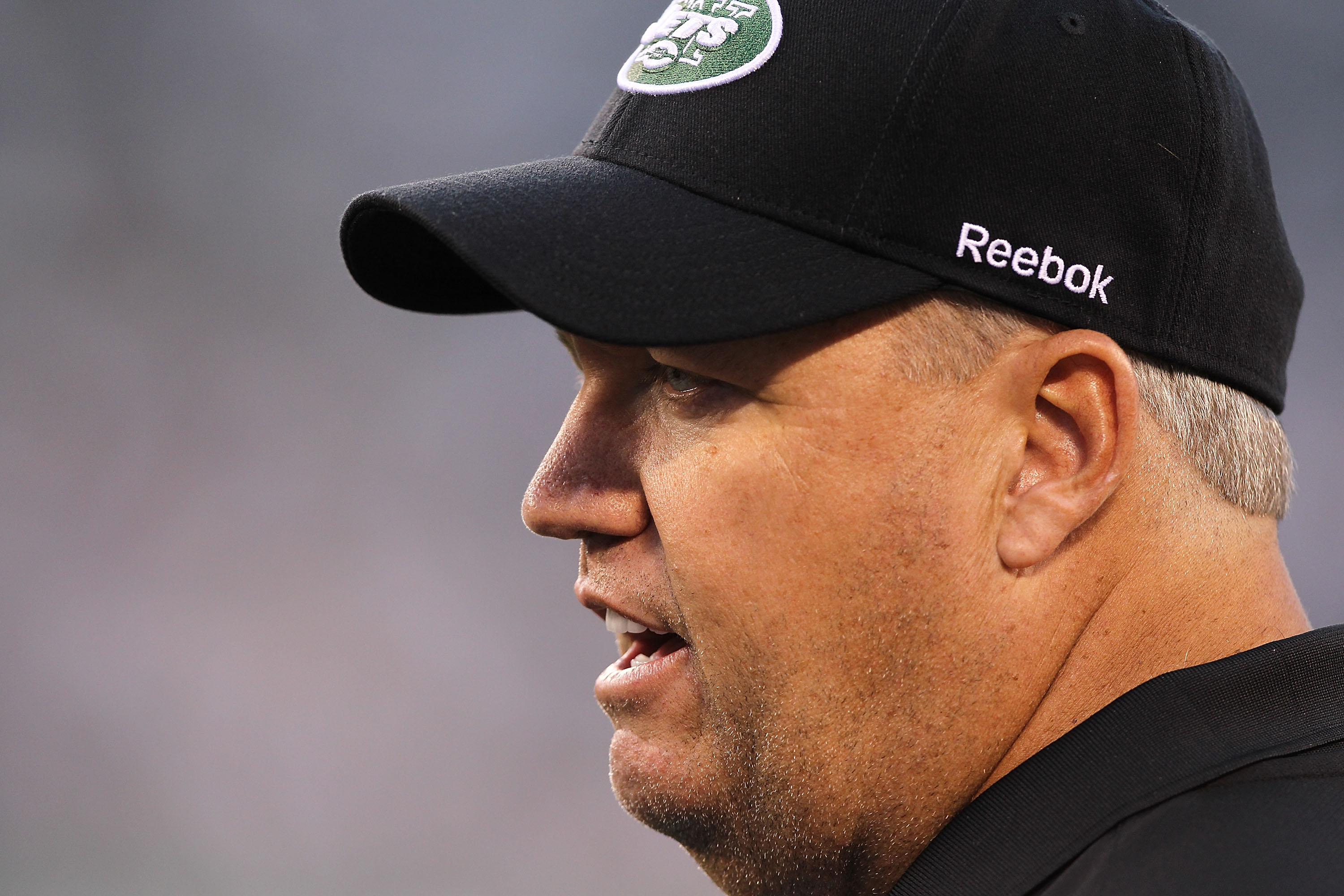 EAST RUTHERFORD, NJ - AUGUST 27:  Rex Ryan, Head Coach of the New York Jets looks on during the preseason game against the Washington Redskins on August 27, 2010 at the New Meadowlands Stadium  in East Rutherford, New Jersey.  (Photo by Al Bello/Getty Ima