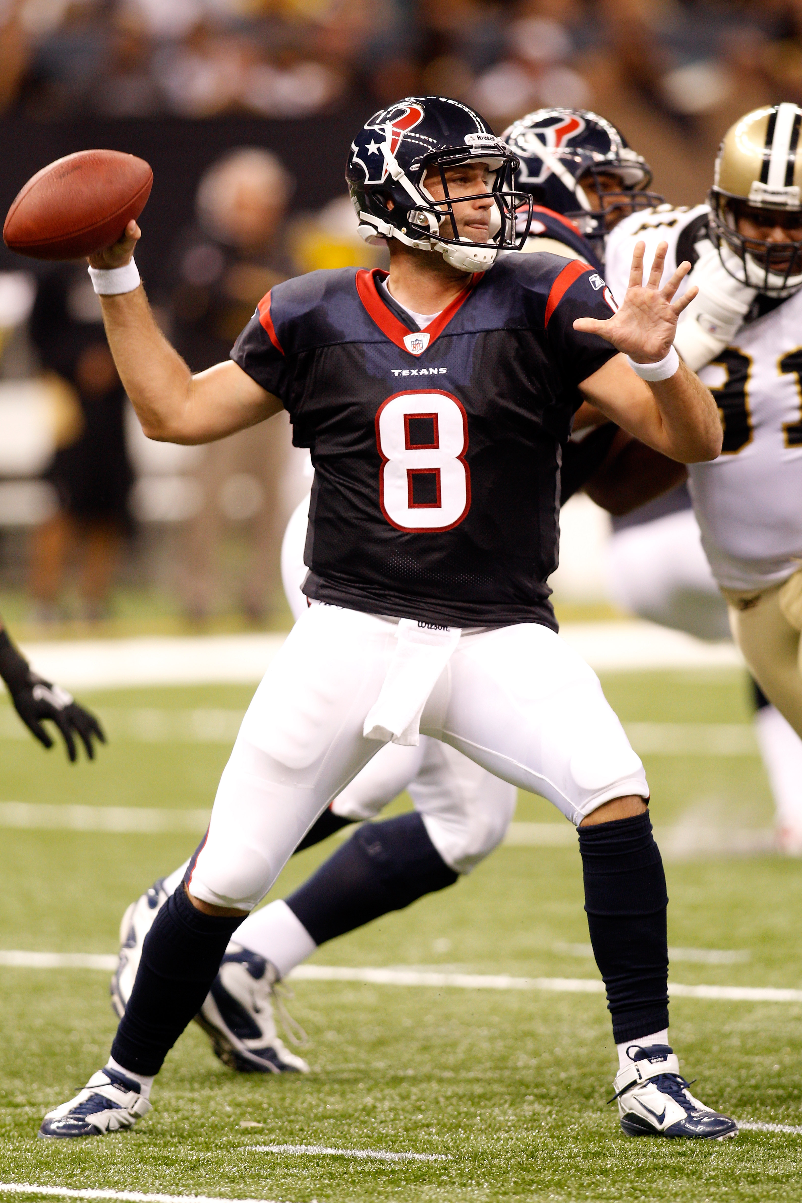 NEW ORLEANS - AUGUST 21:  Matt Schaub #8 of the Houston Texans in action during the game against the New Orleans Saints at the Louisiana Superdome on August 21, 2010 in New Orleans, Louisiana.  (Photo by Chris Graythen/Getty Images)