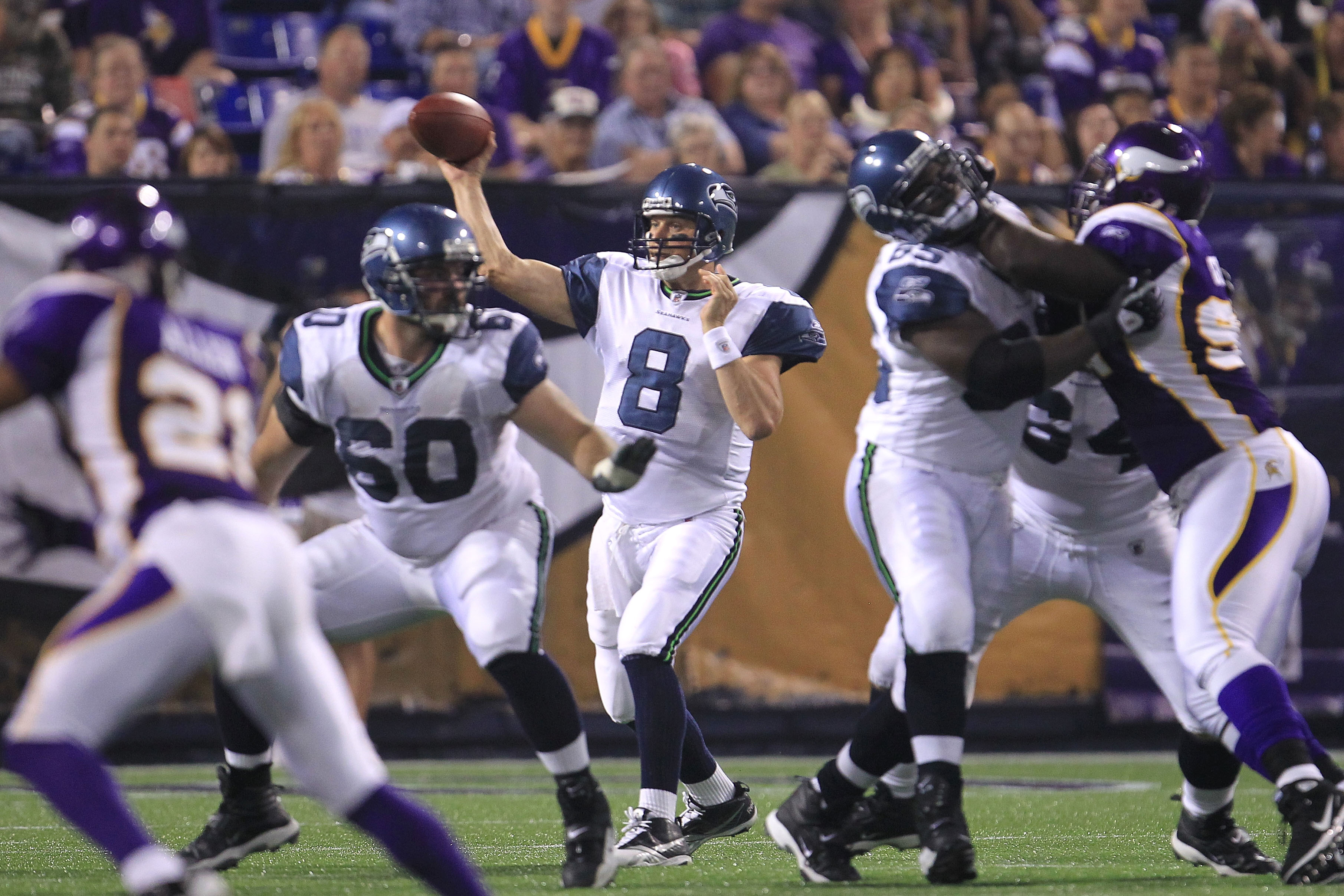 MINNEAPOLIS - AUGUST 28:  Matt Hasselbeck #8 of the Seattle Seahawks throws a pass against the Minnesota Vikings during a preseason NFL game at Mall of America Field at the Hubert H. Humphrey Metrodome on August 28, 2010  in Minneapolis, Minnesota.  (Phot