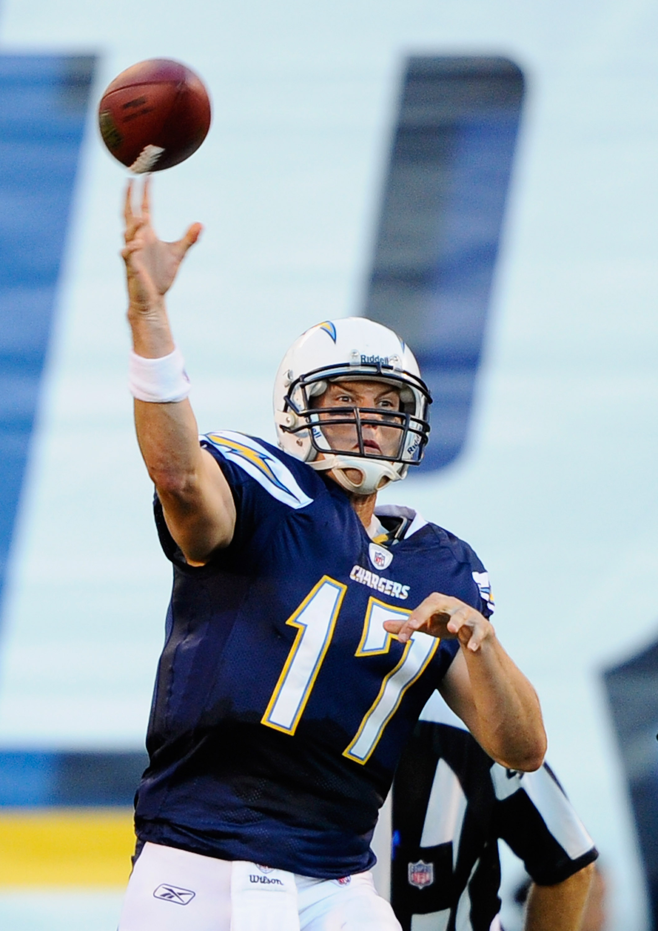 SAN DIEGO - AUGUST 21:  Quarterback Philip Rivers #17 of the San Diego Chargers throws a pass during the pre-season NFL football game against Dallas Cowboys at Qualcomm Stadium on August 21, 2010 in San Diego, California.  (Photo by Kevork Djansezian/Gett