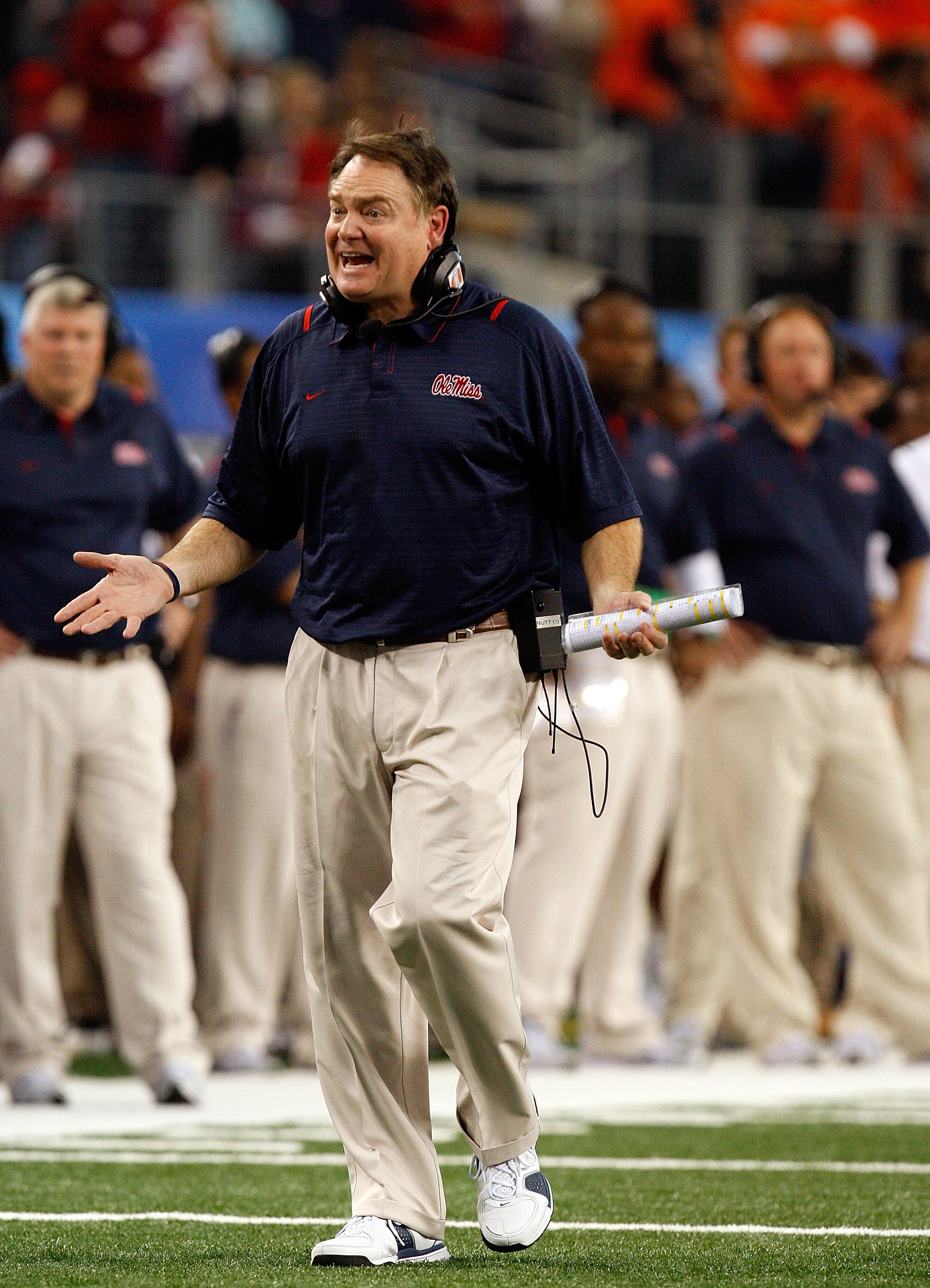ARLINGTON, TX - JANUARY 02:  Head coach Houston Nutt of the Mississippi Rebels during the AT&T Cotton Bowl on January 2, 2010 at Cowboys Stadium in Arlington, Texas.  (Photo by Ronald Martinez/Getty Images)