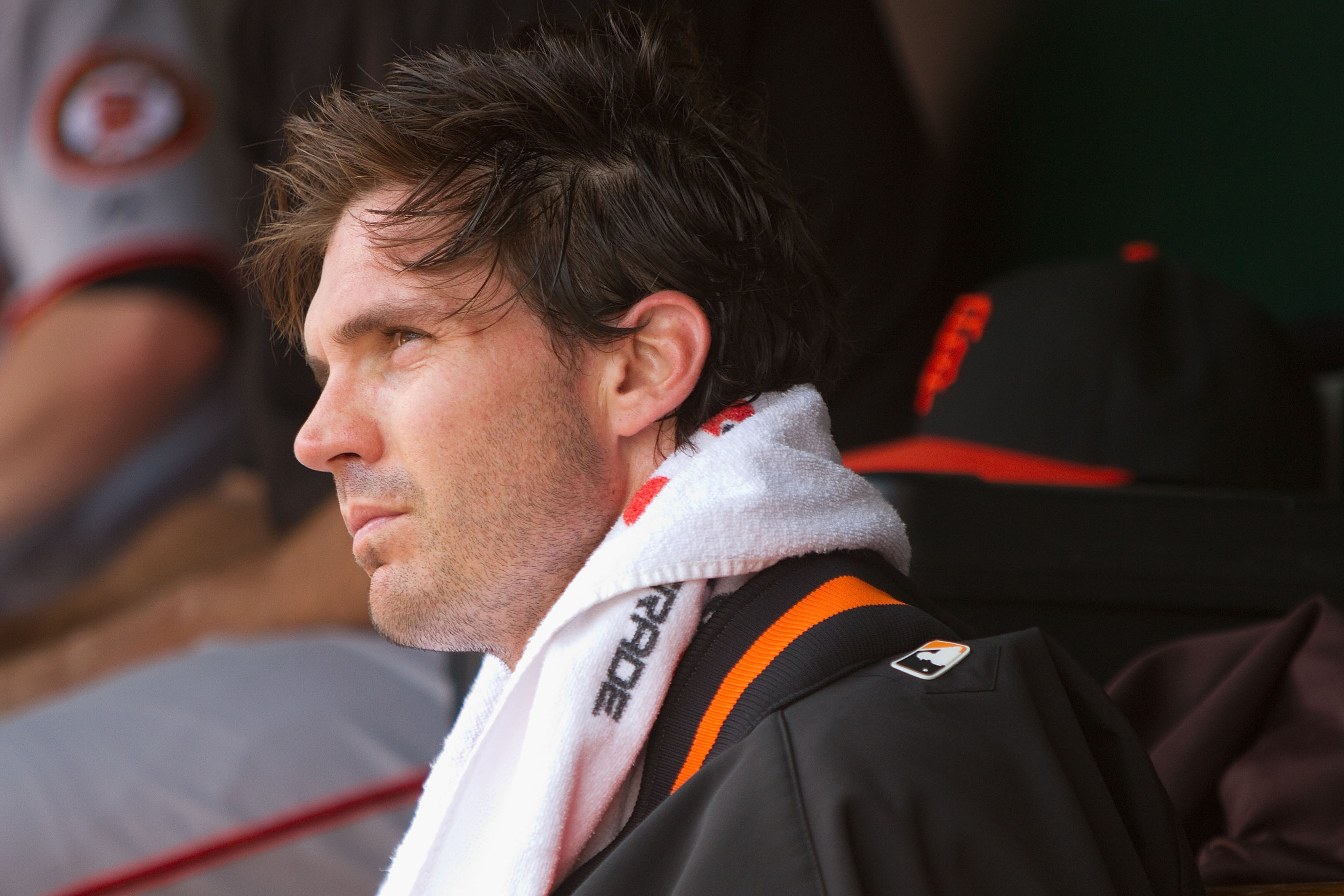 ST. LOUIS - AUGUST 22: Starter Barry Zito #75 of the San Francisco Giants looks on from the dugout against the St. Louis Cardinals at Busch Stadium on August 22, 2010 in St. Louis, Missouri.  (Photo by Dilip Vishwanat/Getty Images)