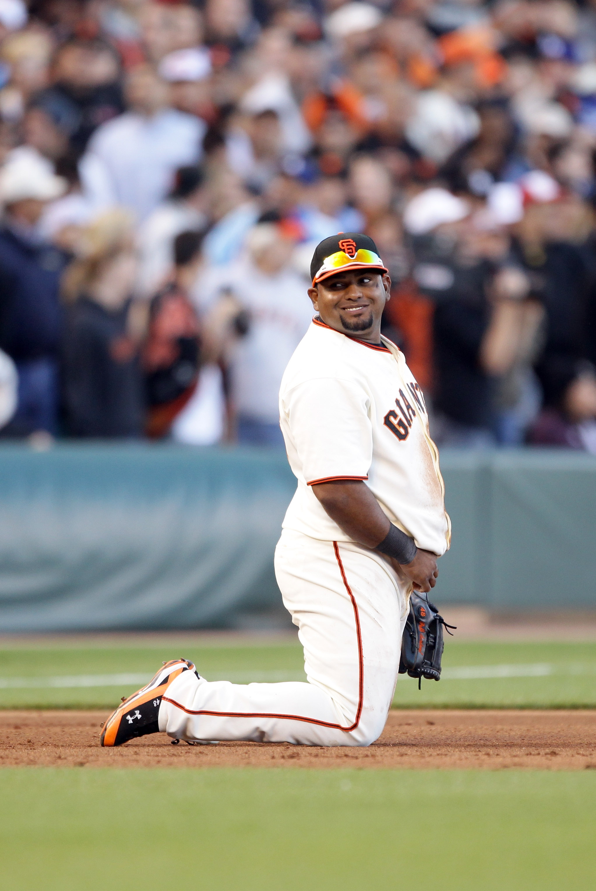 SAN FRANCISCO - AUGUST 01:  Pablo Sandoval #48 of the San Francisco Giants in action against the Los Angeles Dodgers at AT&T Park on August 1, 2010 in San Francisco, California.  (Photo by Ezra Shaw/Getty Images)