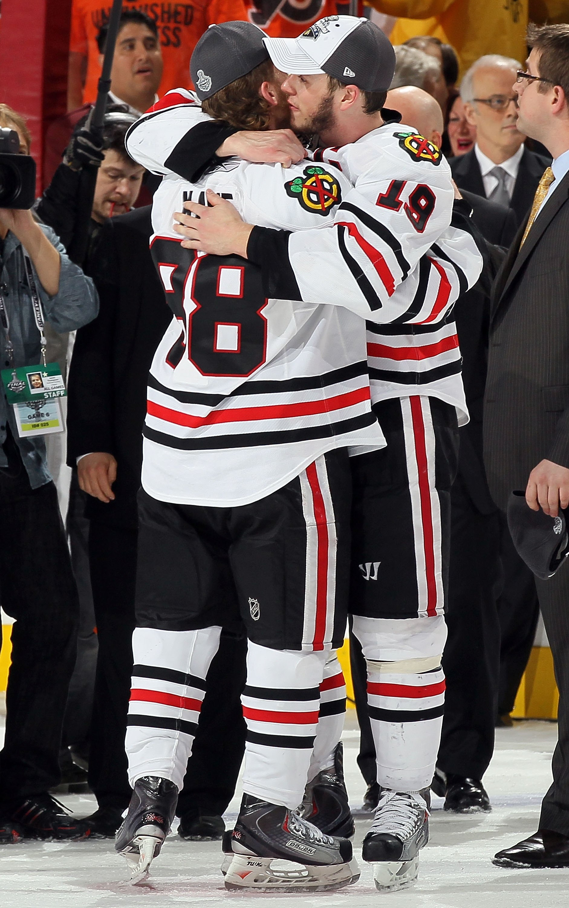 PHILADELPHIA - JUNE 09:  Jonathan Toews #19 and Patrick Kane #88 of the Chicago Blackhawks celebrate after defeating the Philadelphia Flyers 4-3 to win the Stanley Cup in Game Six of the 2010 NHL Stanley Cup Final at the Wachovia Center on June 9, 2010 in