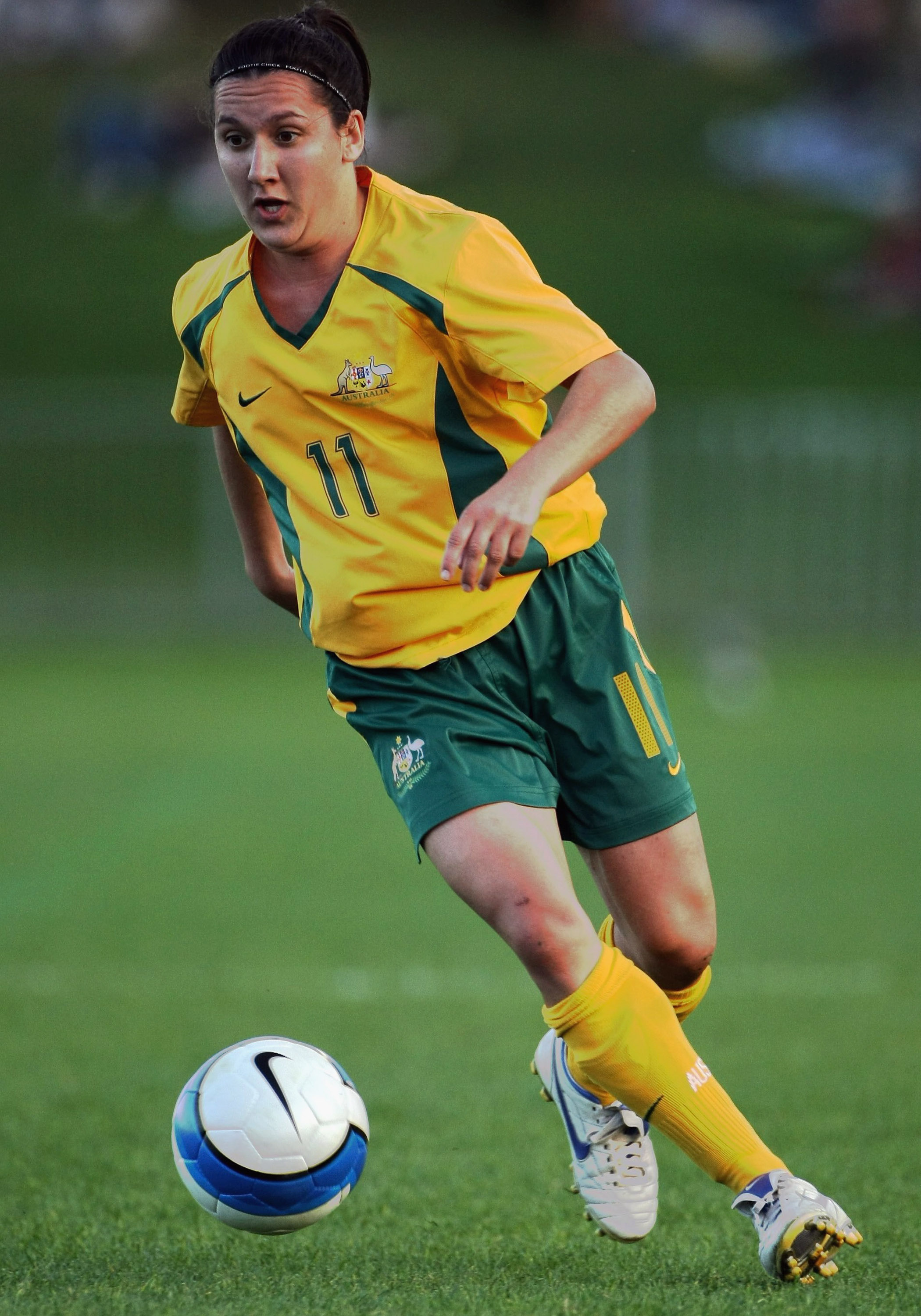 COFFS HARBOUR, AUSTRALIA - JUNE 10: Lisa De Vanna of Australia in action during the Olympic Qualification match between Australia and North Korea at BCU International Stadium on June 10, 2007 in Coffs Harbour, Australia.  (Photo by Robert Cianflone/Getty