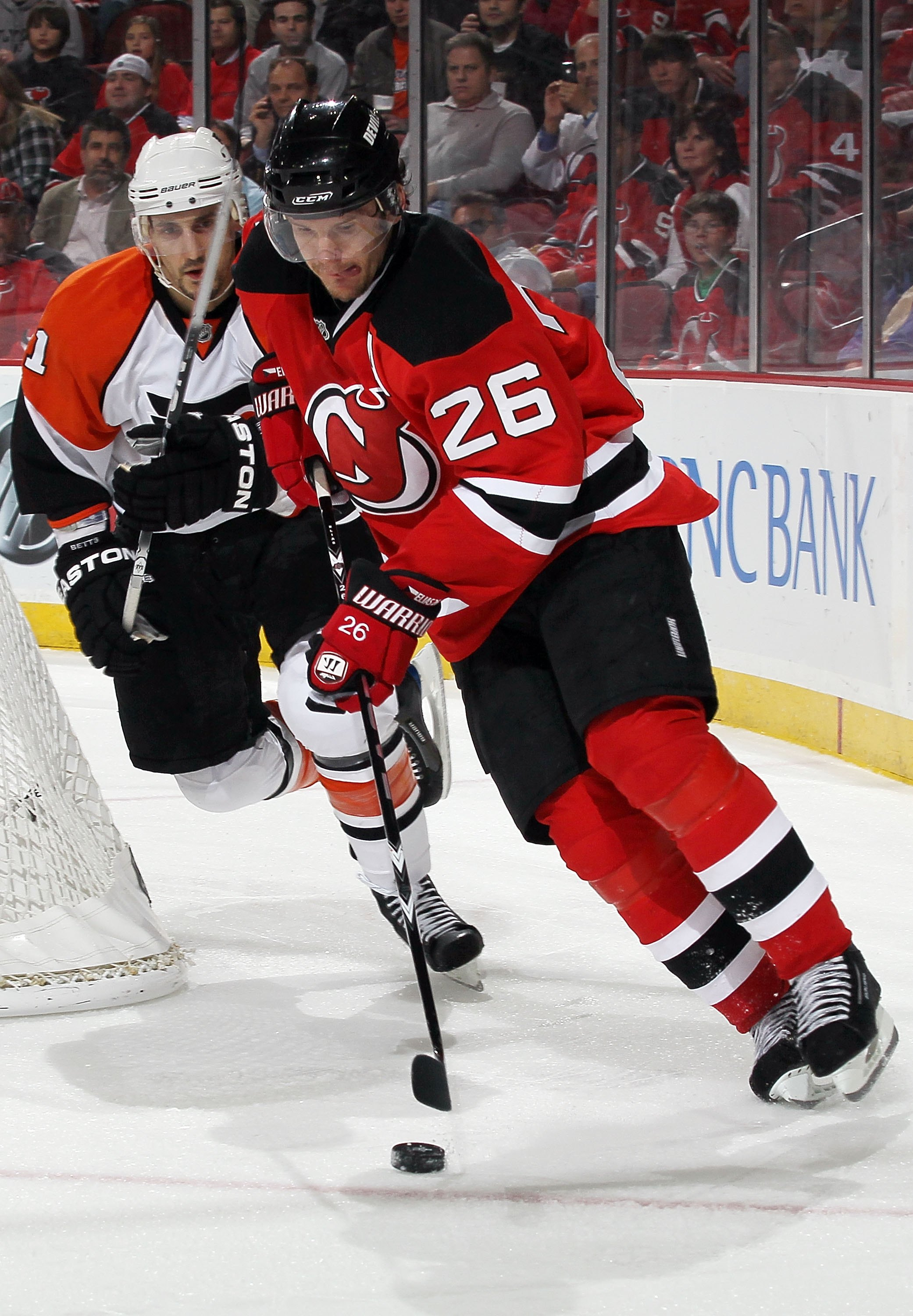 NEWARK, NJ - APRIL 22:  Patrik Elias #26 of the New Jersey Devils skates against the Philadelphia Flyers in Game 5 of the Eastern Conference Quarterfinals during the 2010 NHL Stanley Cup Playoffs at the Prudential Center at on April 22, 2010 in Newark, Ne