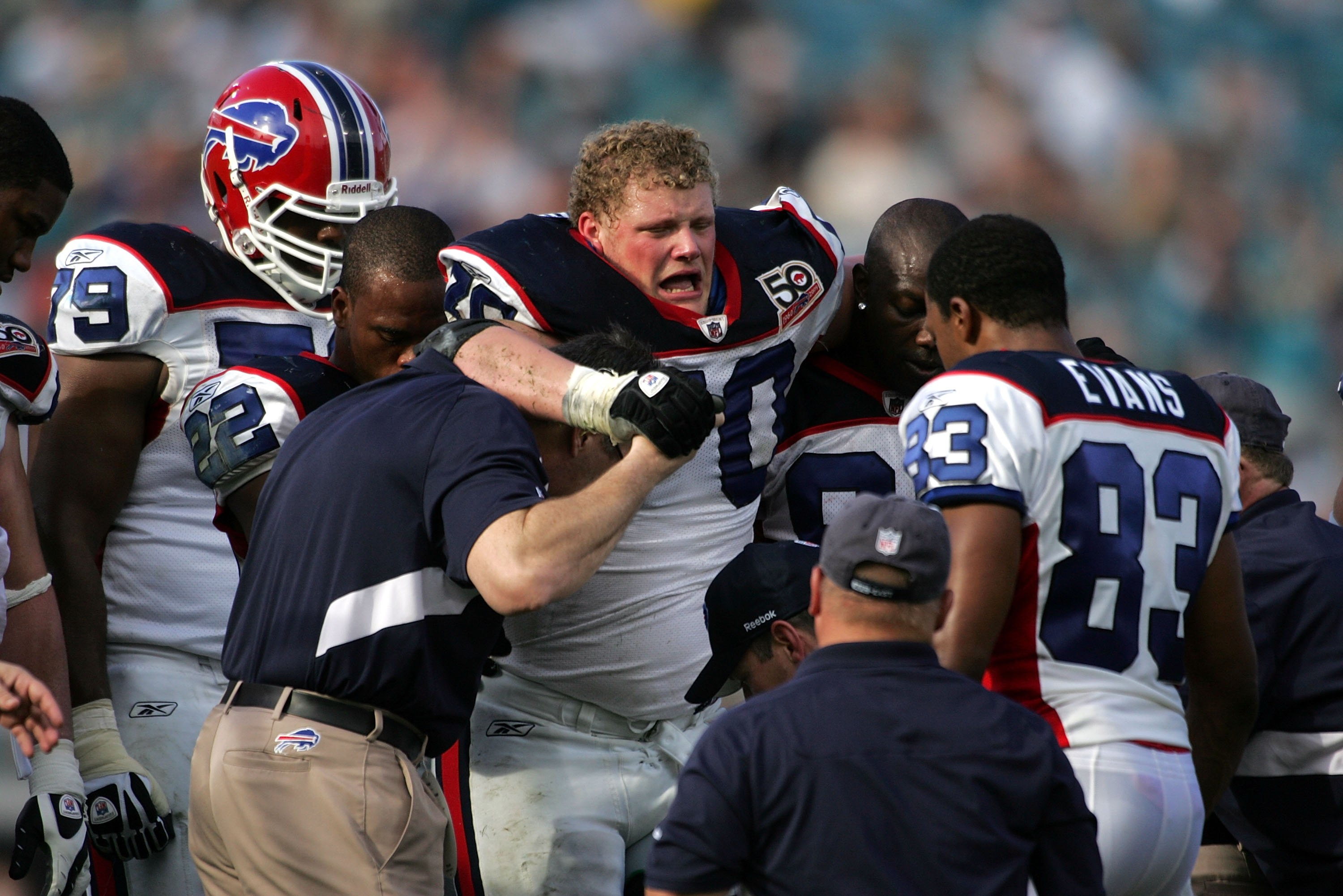 JACKSONVILLE, FL - NOVEMBER 22:  Guard Eric Wood of the Buffalo Bills gets carried off the field injured against the Jacksonville Jaguars at Jacksonville Municipal Stadium on November 22, 2009 in Jacksonville, Florida.  (Photo by Marc Serota/Getty Images)