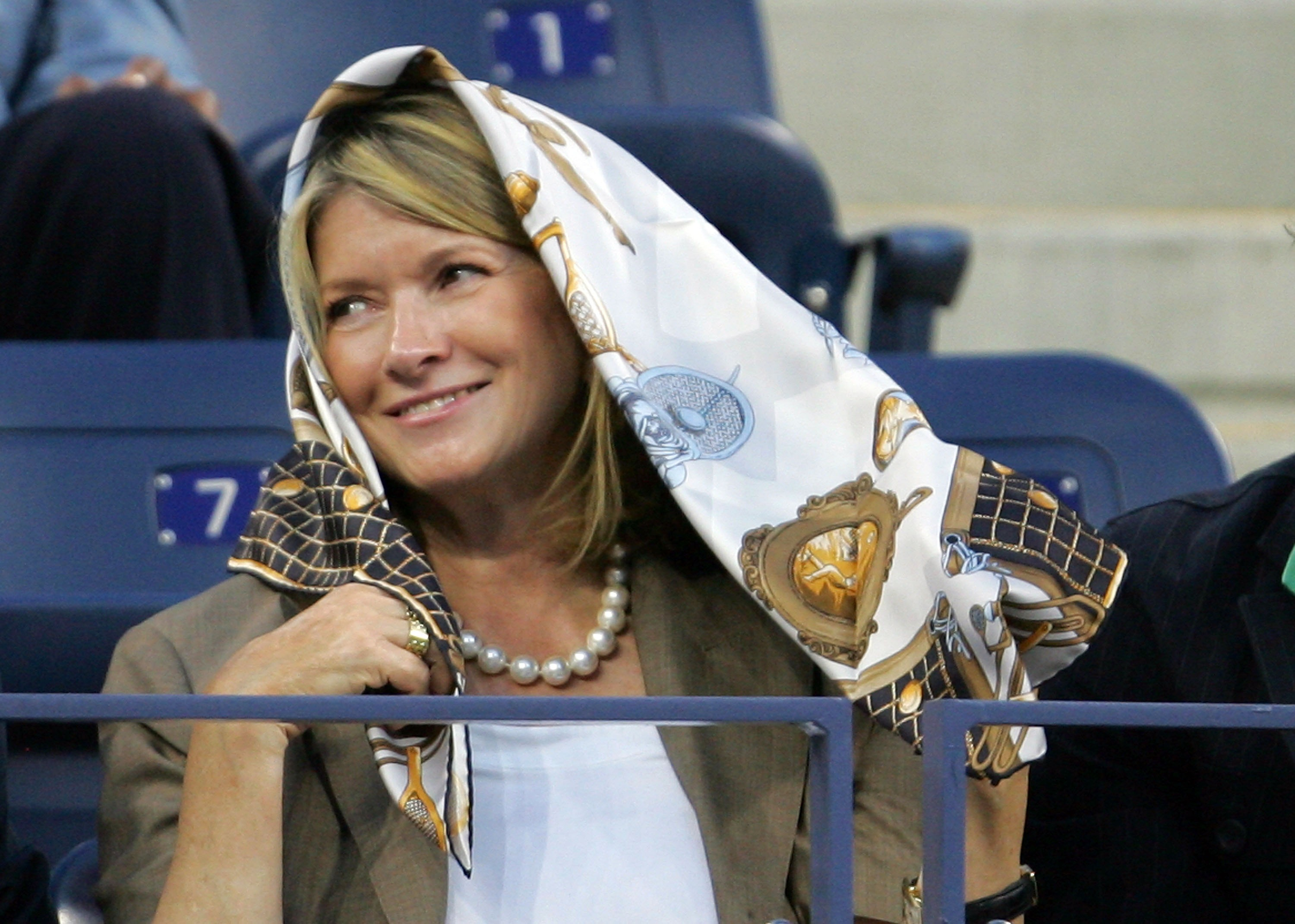 NEW YORK - AUGUST 27:  Martha Stewart looks on during the opening ceremonies for the U.S. Open at the Billie Jean King National Tennis Center on August 27, 2007 in the Flushing neighborhood of the Queens borough of New York City.  (Photo by Matthew Stockm
