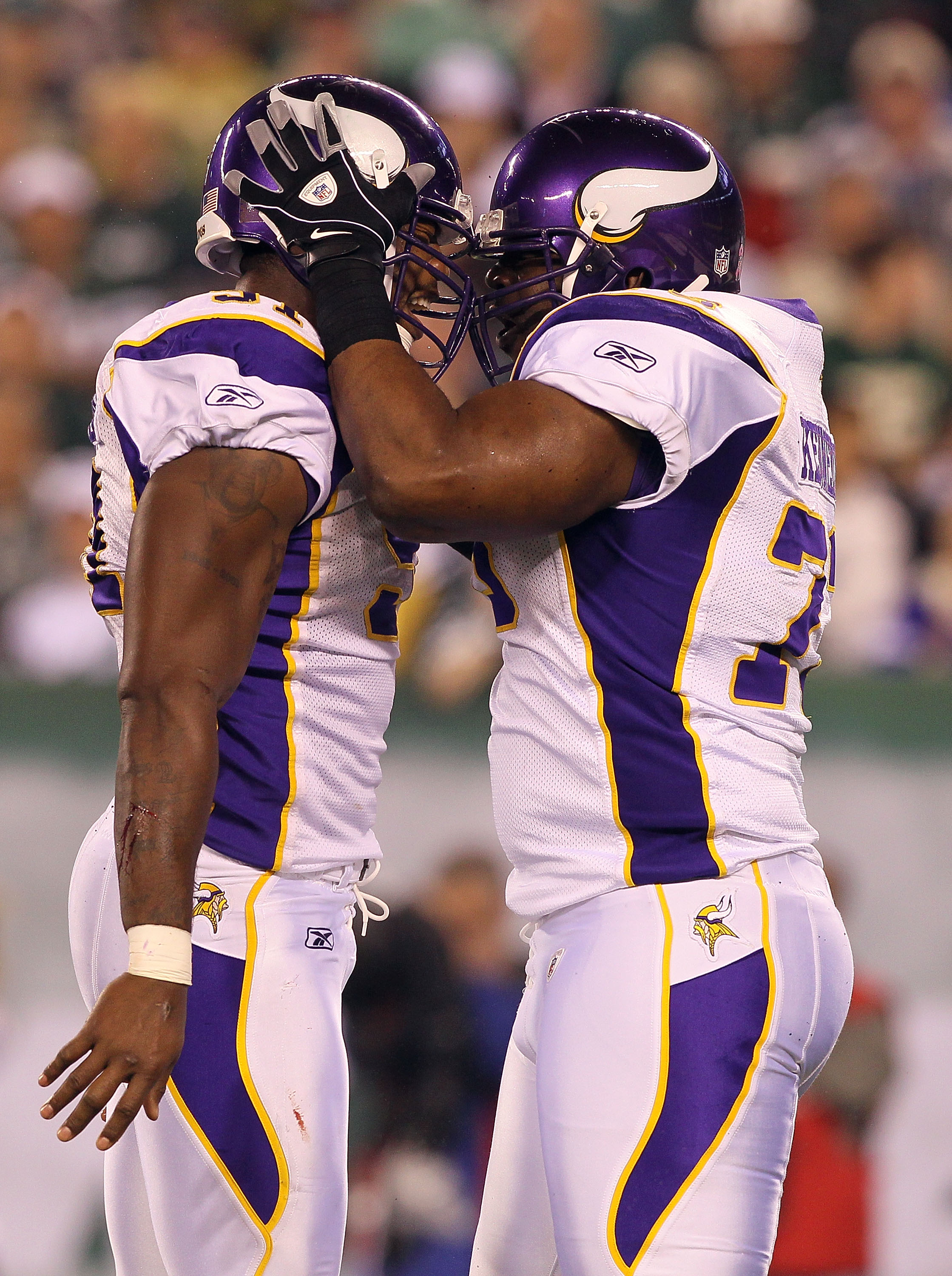 EAST RUTHERFORD, NJ - OCTOBER 11:  (L-R) Ray Edwards #91 and Jimmy Kennedy #73 of the Minnesota Vikings celebrate after Edwards recorded a sack against the New York Jets at New Meadowlands Stadium on October 11, 2010 in East Rutherford, New Jersey.  (Phot