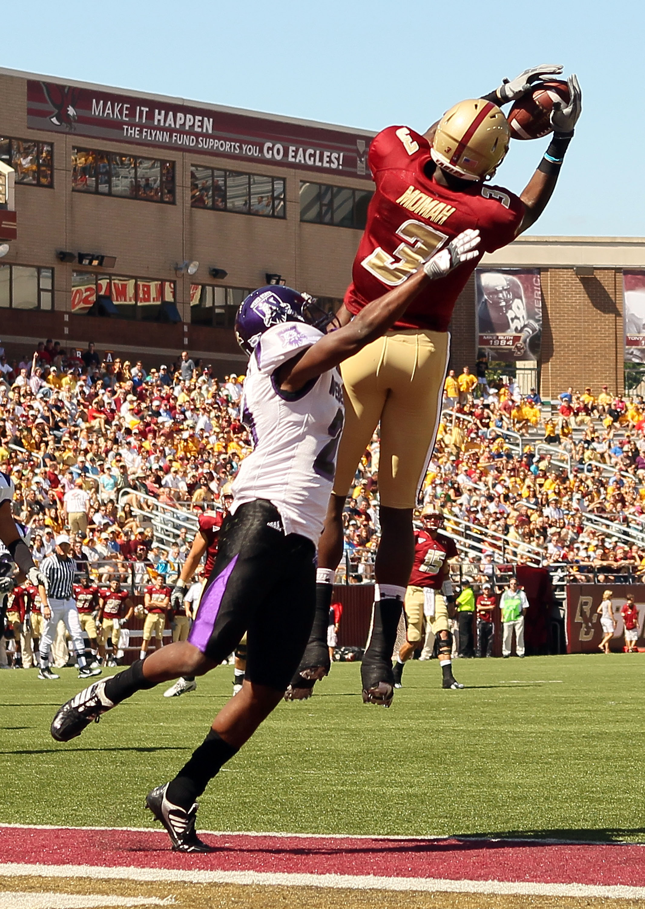 CHESTNUT HILL, MA - SEPTEMBER 04:  Ifeanyi Momah #3 of the Boston College Eagles makes the touchdown catch as Antwain Stutson #21 of the Weber State Wildcats defends on September 4, 2010 at Alumni Stadium in Chestnut Hill, Massachusetts.  (Photo by Elsa/G