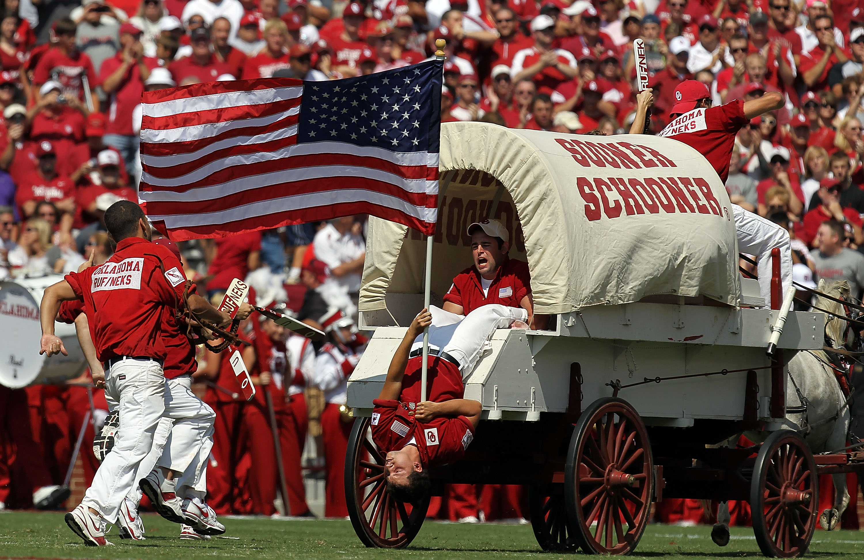 The Sooner Schooner chases Chief Osceola out of Norman