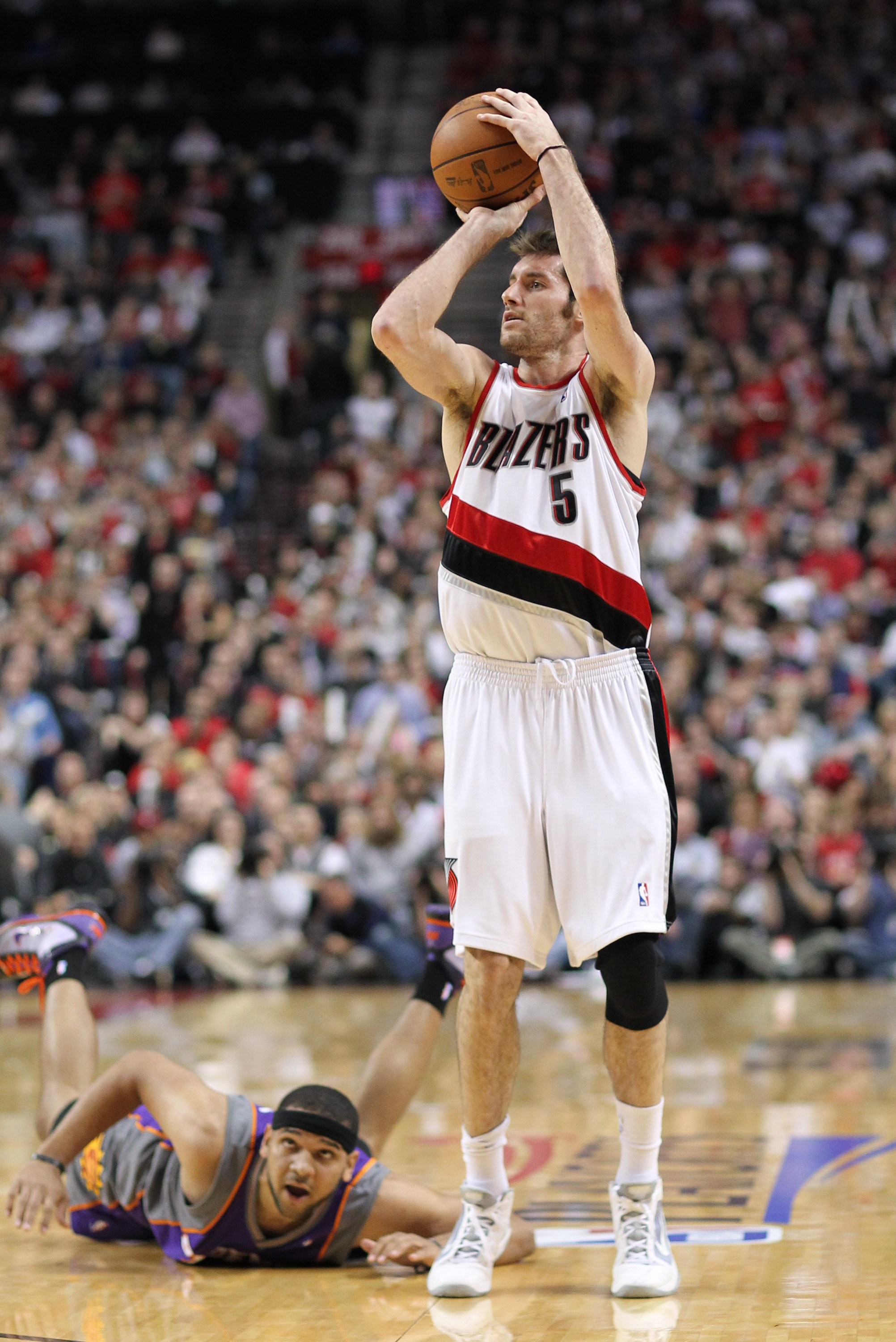 PORTLAND, OR - APRIL 29:  Rudy Fernandez #5 of the Portland Trail Blazers shoots against the Phoenix Suns during Game Six of the Western Conference Quarterfinals of the NBA Playoffs on April 29, 2010 at the Rose Garden in Portland, Oregon. NOTE TO USER: U