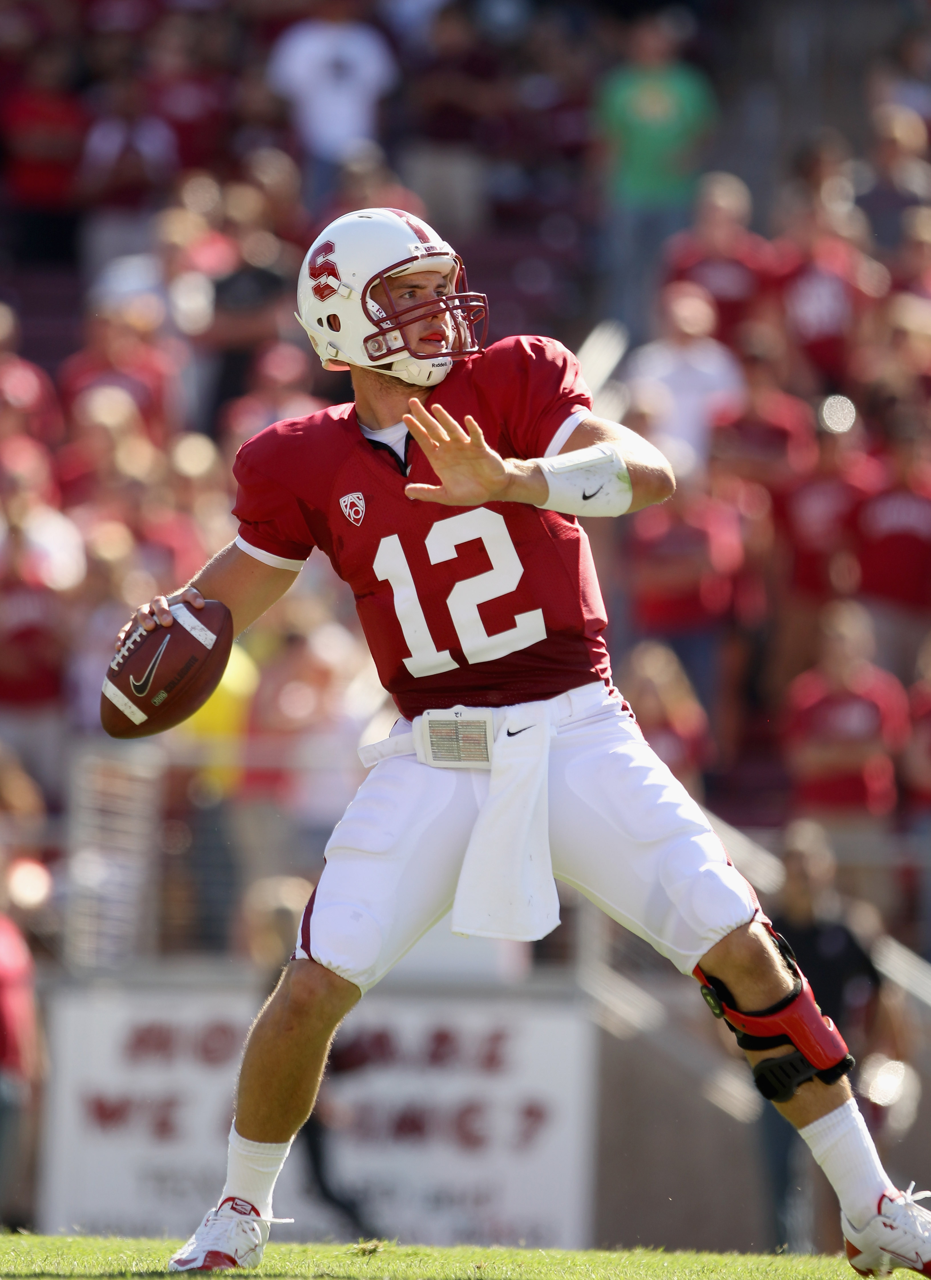 PALO ALTO, CA - SEPTEMBER 04:  Andrew Luck #12 of the Stanford Cardinal in action during their game against the Sacramento State Hornets at Stanford Stadium on September 4, 2010 in Palo Alto, California.  (Photo by Ezra Shaw/Getty Images)