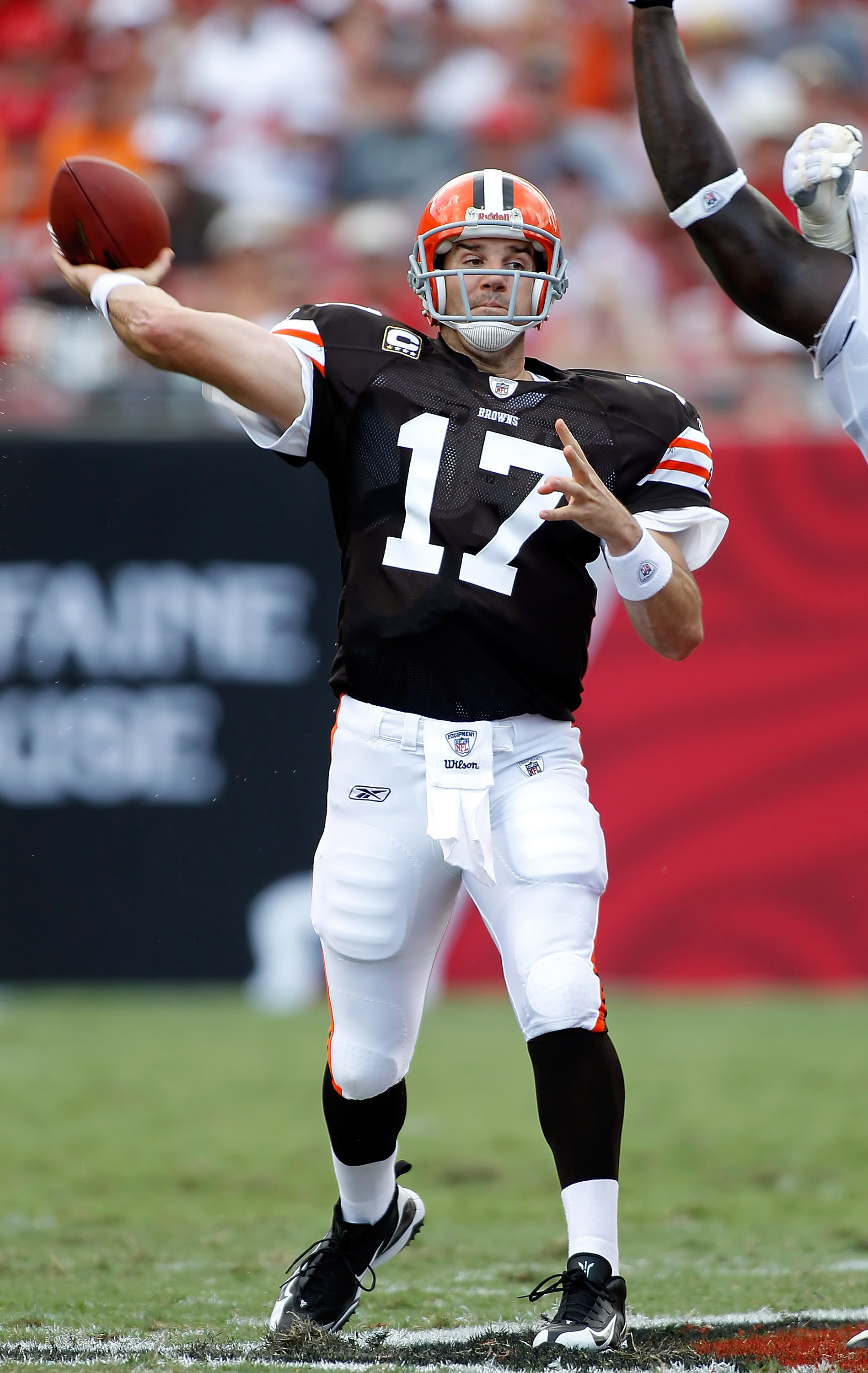 TAMPA, FL - SEPTEMBER 12:  Quarterback Jake Delhomme #17 of the Cleveland Browns throws a pass against the Tampa Bay Buccaneers during the NFL season opener game at Raymond James Stadium on September 12, 2010 in Tampa, Florida.  (Photo by J. Meric/Getty I