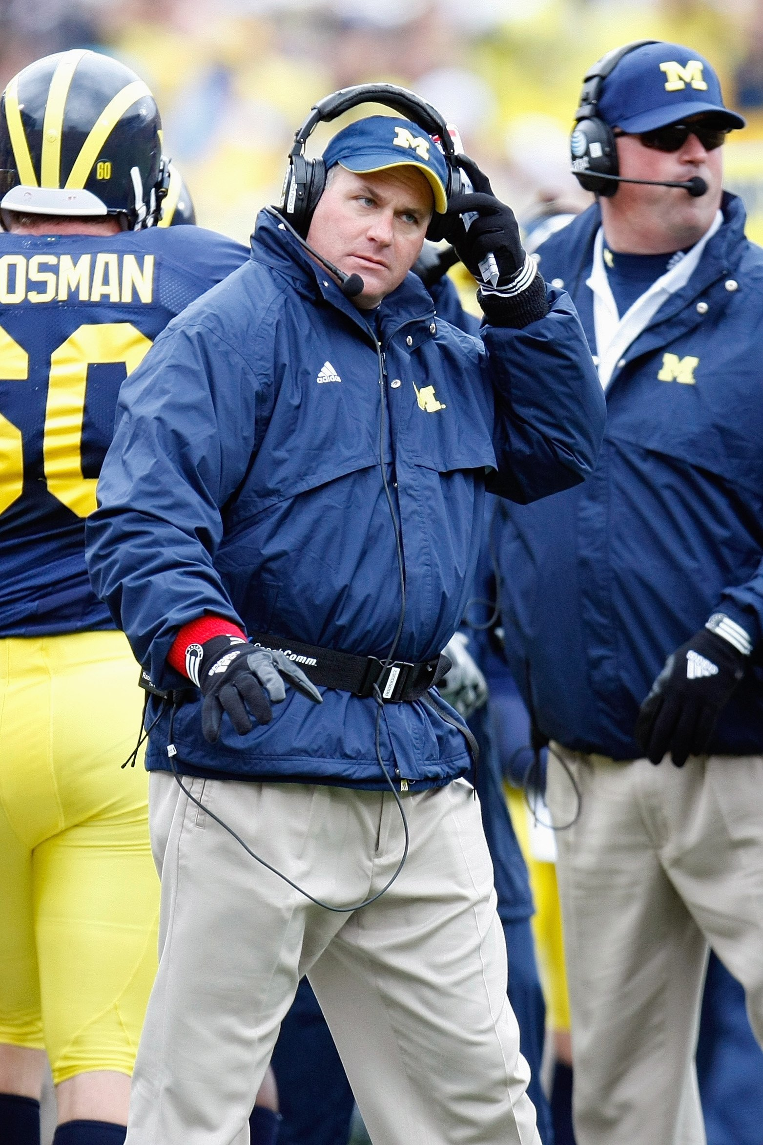 ANN ARBOR, MI - OCTOBER 24:  Head coach Rich Rodriguez of the Michigan Wolverines looks on during the game against the Penn State Nittany Lions on October 24, 2009 at Michigan Stadium in Ann Arbor, Michigan. (Photo by  Gregory Shamus/Getty Images)