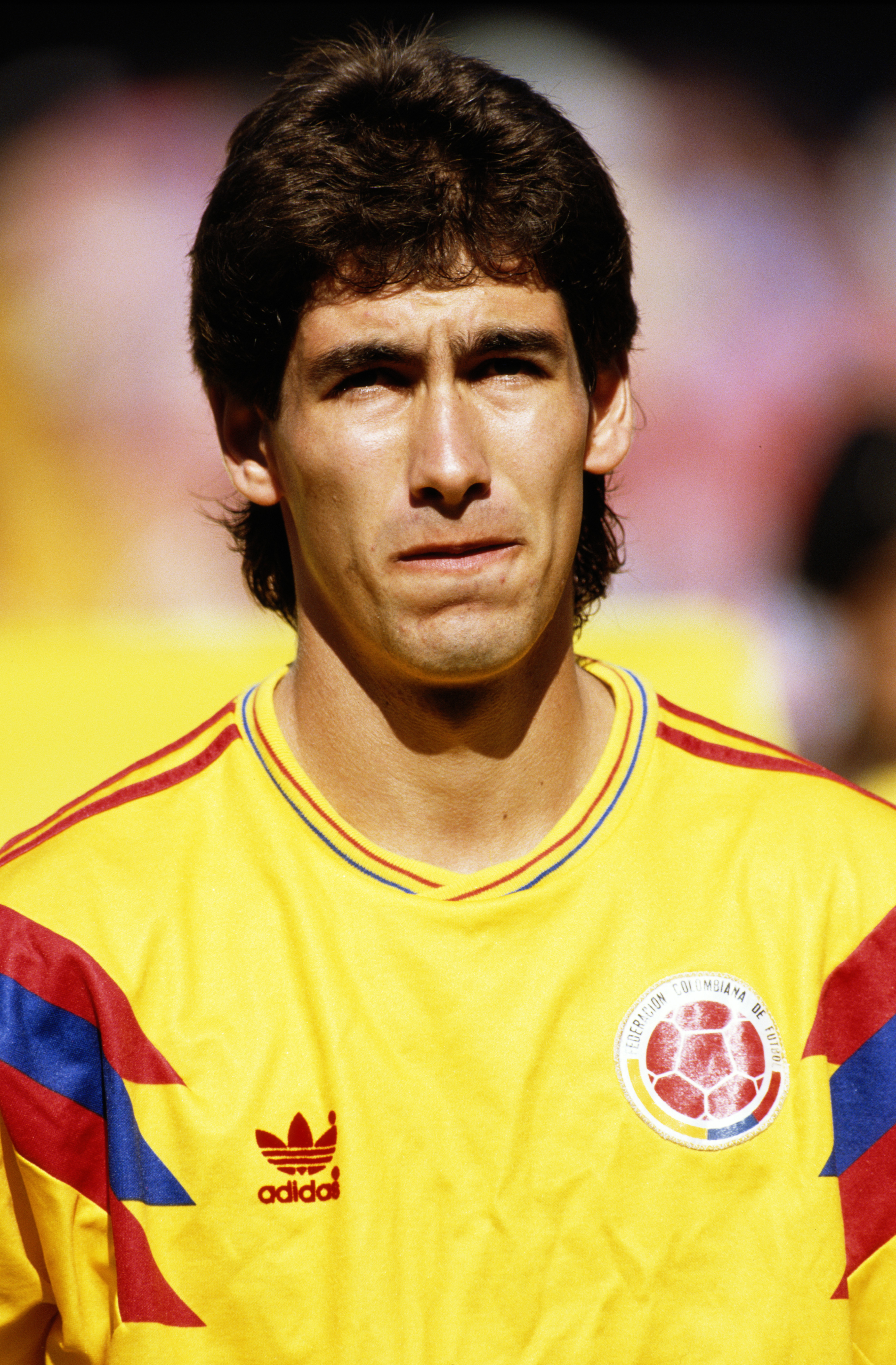 Andres Escobar of Colombia during the Round of 16 match against the Cameroon at the 1990 FIFA World Cup on 23 June 1990 at the San Paolo Stadium in Naples, Italy. The match resulted in an 2-1 extra time victory for the Camaroon and ultimately the murder o