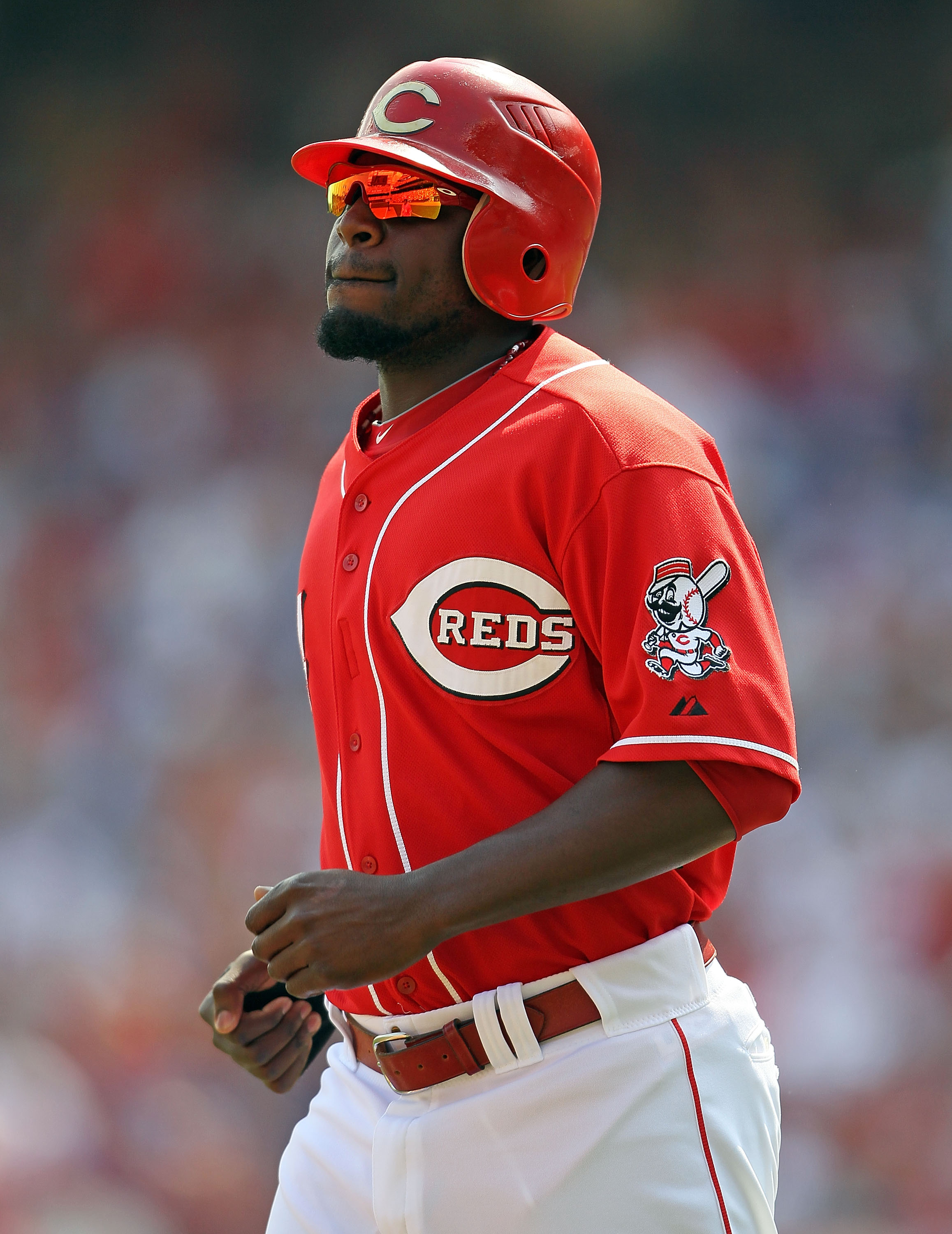 CINCINNATI - AUGUST 29:  Brandon Phillips #4 of the Cincinnati Reds is pictured during the game against the Chicago Cubs at Great American Ball Park on August 29, 2010 in Cincinnati, Ohio.  (Photo by Andy Lyons/Getty Images)