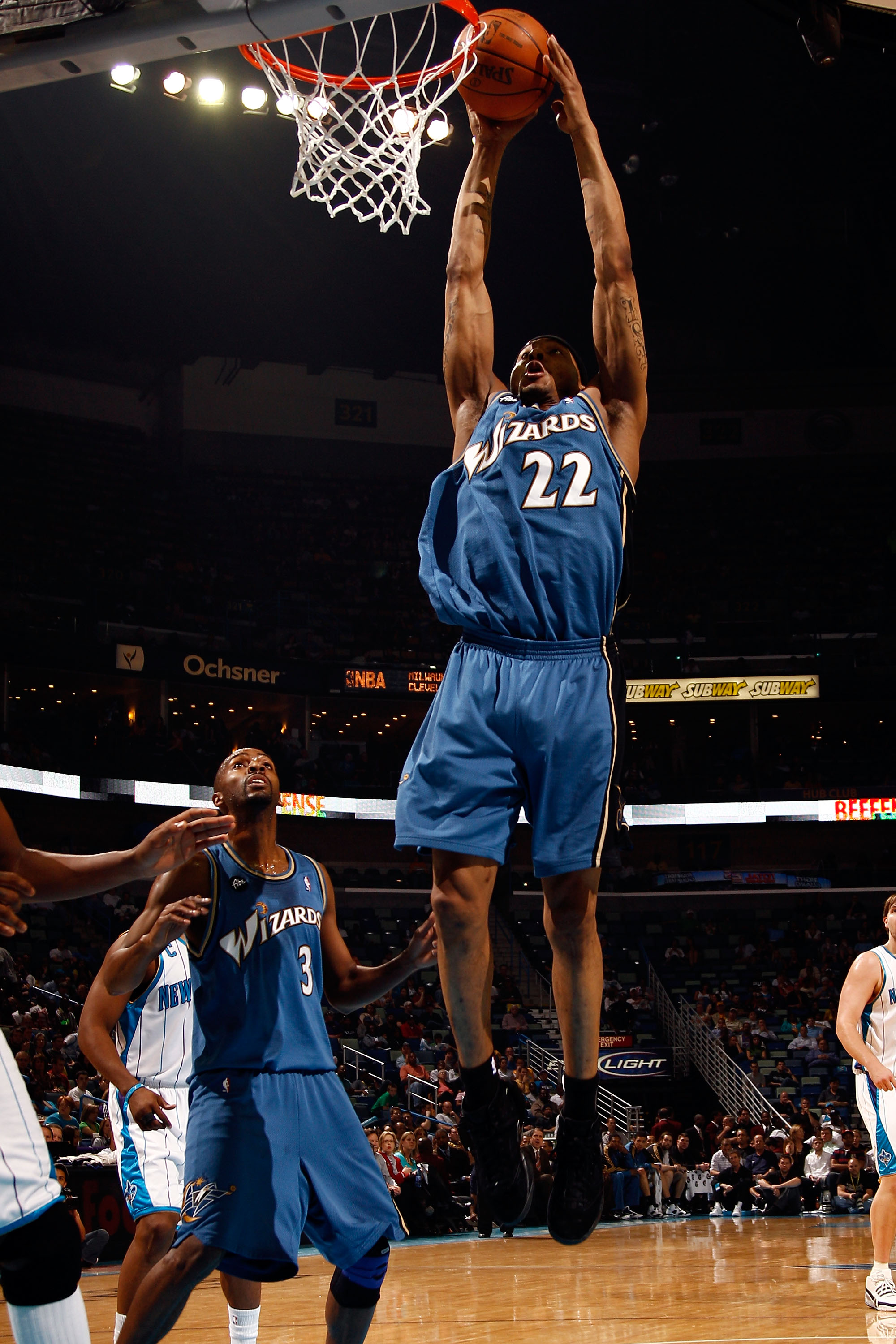 NEW ORLEANS - MARCH 31:  James Singleton #22 of the Washington Wizards dunks the ball against the New Orleans Hornets at New Orleans Arena on March 31, 2010 in New Orleans, Louisiana.  NOTE TO USER: User expressly acknowledges and agrees that, by download