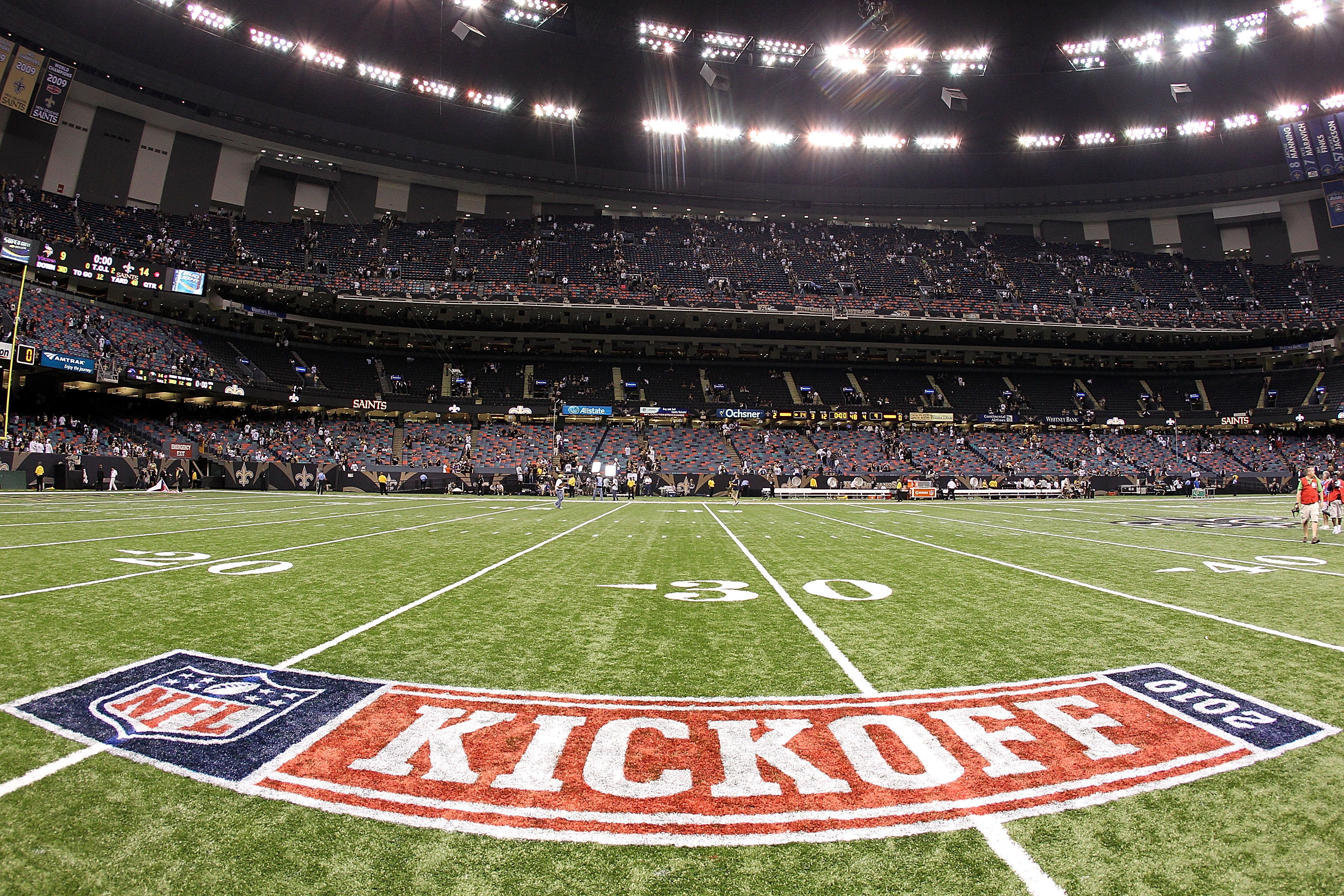 NEW ORLEANS - SEPTEMBER 09:  The NFL opening weekend Kickoff logo on the field at Louisiana Superdome on September 9, 2010 in New Orleans, Louisiana.  (Photo by Ronald Martinez/Getty Images)