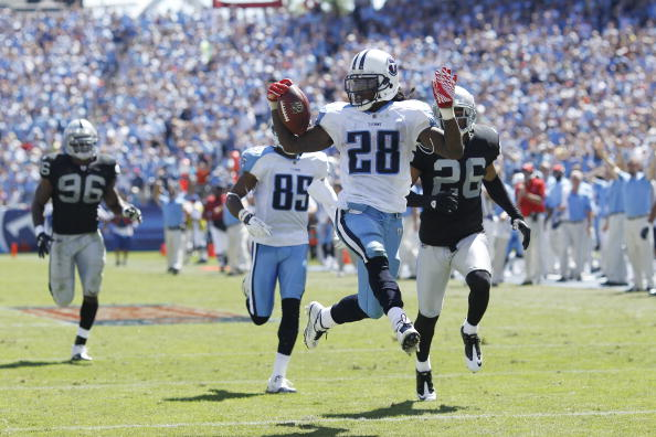 NASHVILLE - SEPTEMBER 12: Chris Johnson #28 of the Tennessee Titans runs into the end zone for a 76-yard touchdown in the first half of the NFL season opener against the Oakland Raiders at LP Field on September 12, 2010 in Nashville, Tennessee. (Photo by