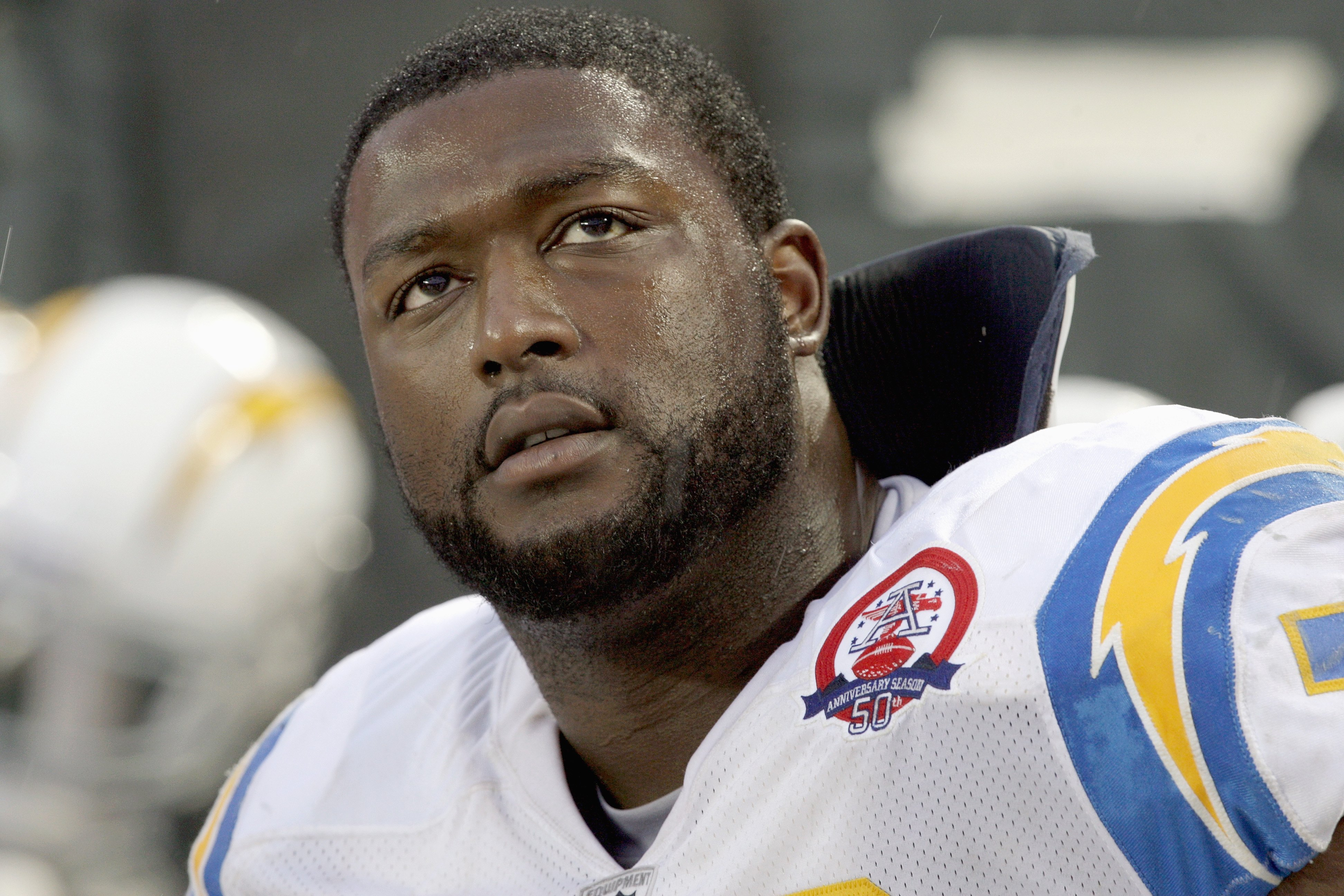 KANSAS CITY, MO - OCTOBER 25:  Marcus McNeill #73 of the San Diego Chargers looks on from the bench during the game against the Kansas City Chiefs on October 25, 2009 at Arrowhead Stadium in Kansas City, Missouri. (Photo by Jamie Squire/Getty Images)