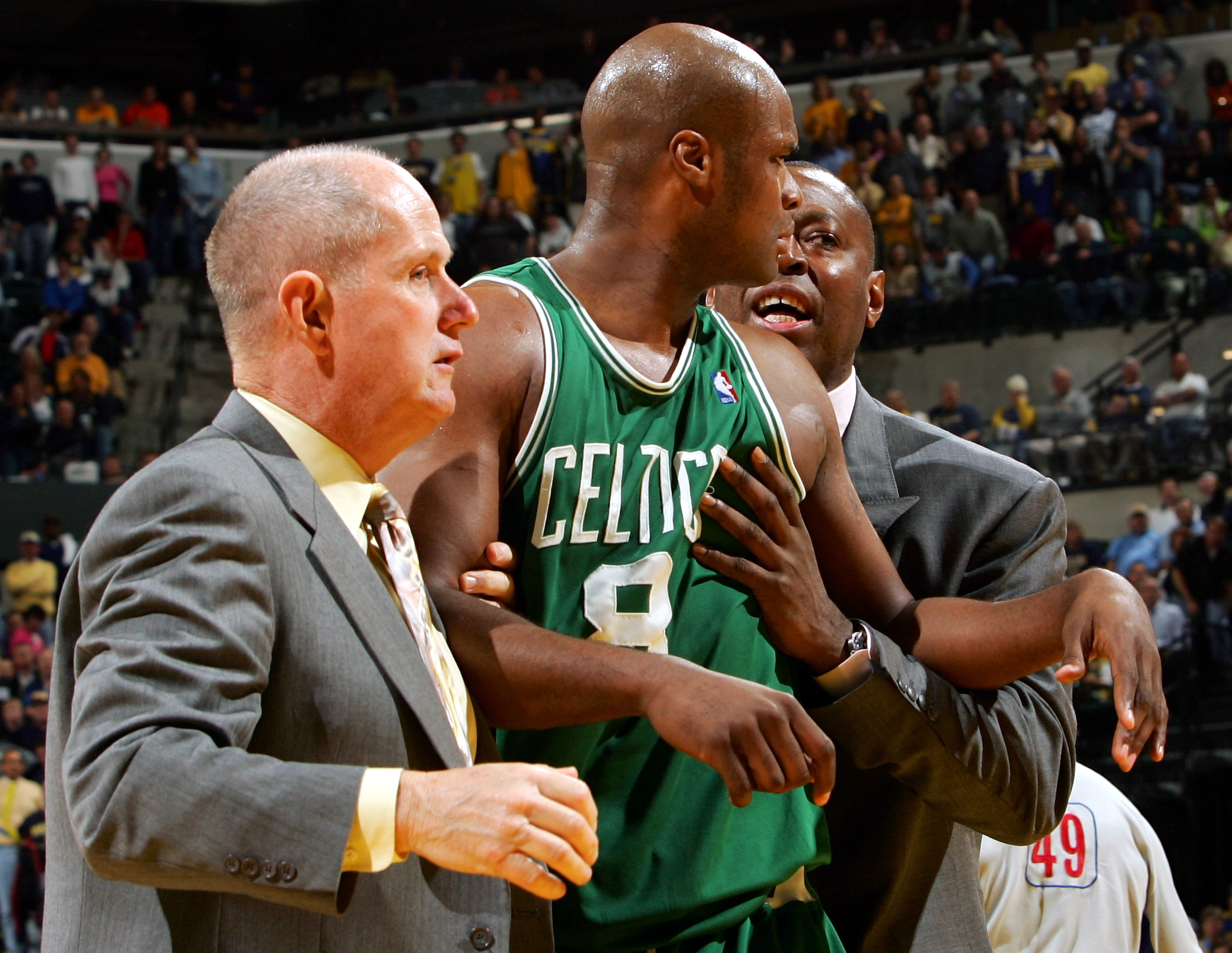 INDIANAPOLIS - APRIL 28: Antoine Walker #8 of the Boston Celtics is ejected from the game after he received his second technical foul in Game three of the Western Conference Quarterfinals during the 2005 NBA Playoffs on April 28, 2005 at Conseco Field Hou