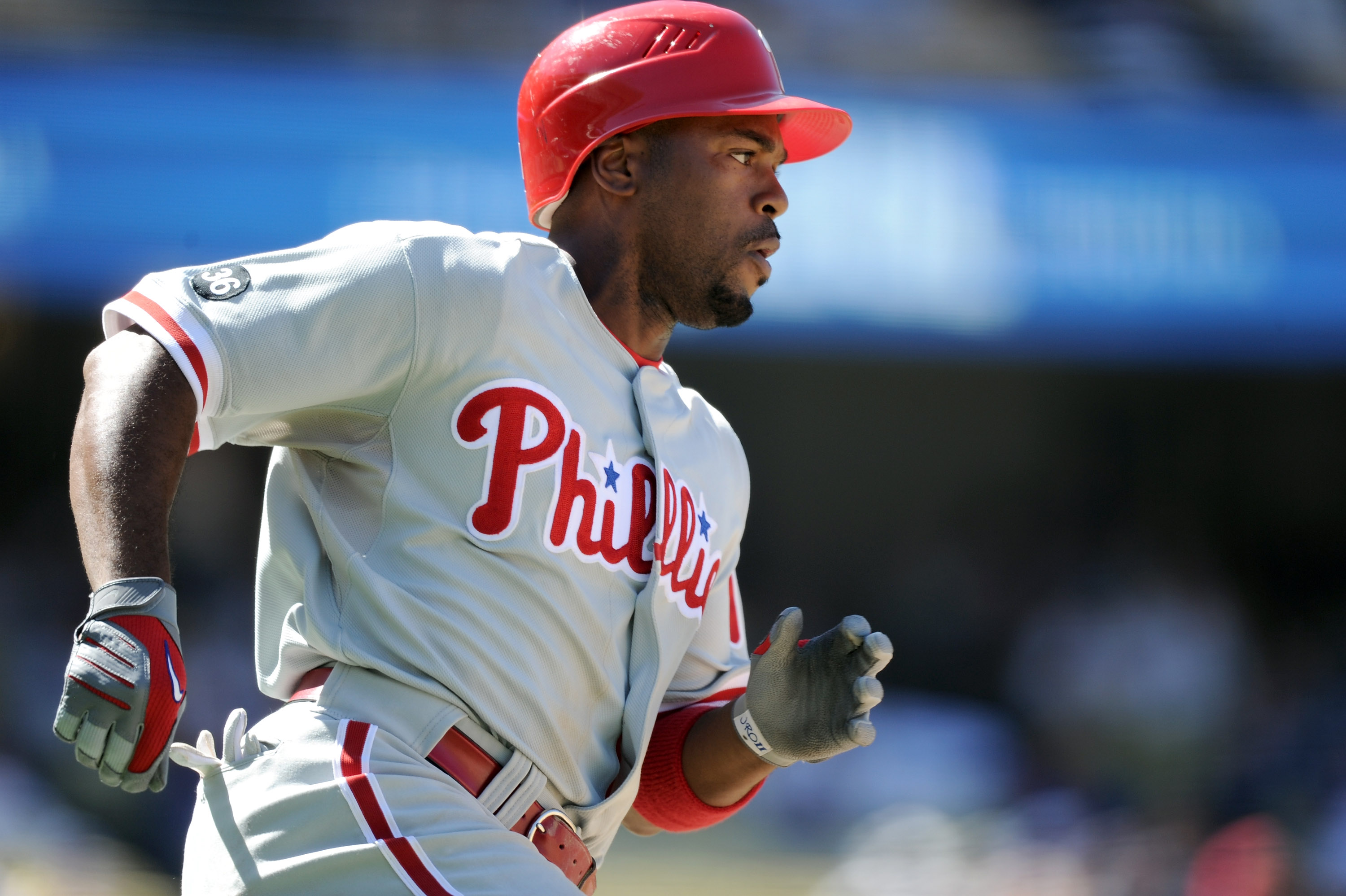 LOS ANGELES, CA - SEPTEMBER 01:  Jimmy Rollins #11 of the Philadelphia Phillies heads to second base for a double against the Los Angeles Dodgers at Dodger Stadium on September 1, 2010 in Los Angeles, California.  (Photo by Harry How/Getty Images)