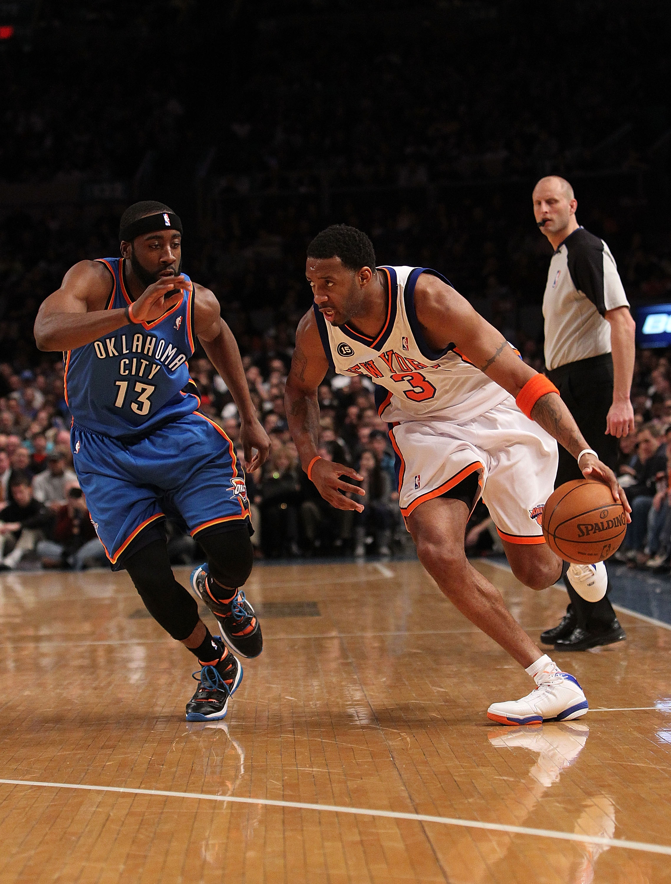 NEW YORK - FEBRUARY 20: Tracy McGrady #3 of the New York Knicks drives the ball against James Harden #13 of the Oklahoma City Thunder at Madison Square Garden on February 20, 2010 in New York, New York. NOTE TO USER: User expressly acknowledges and agrees