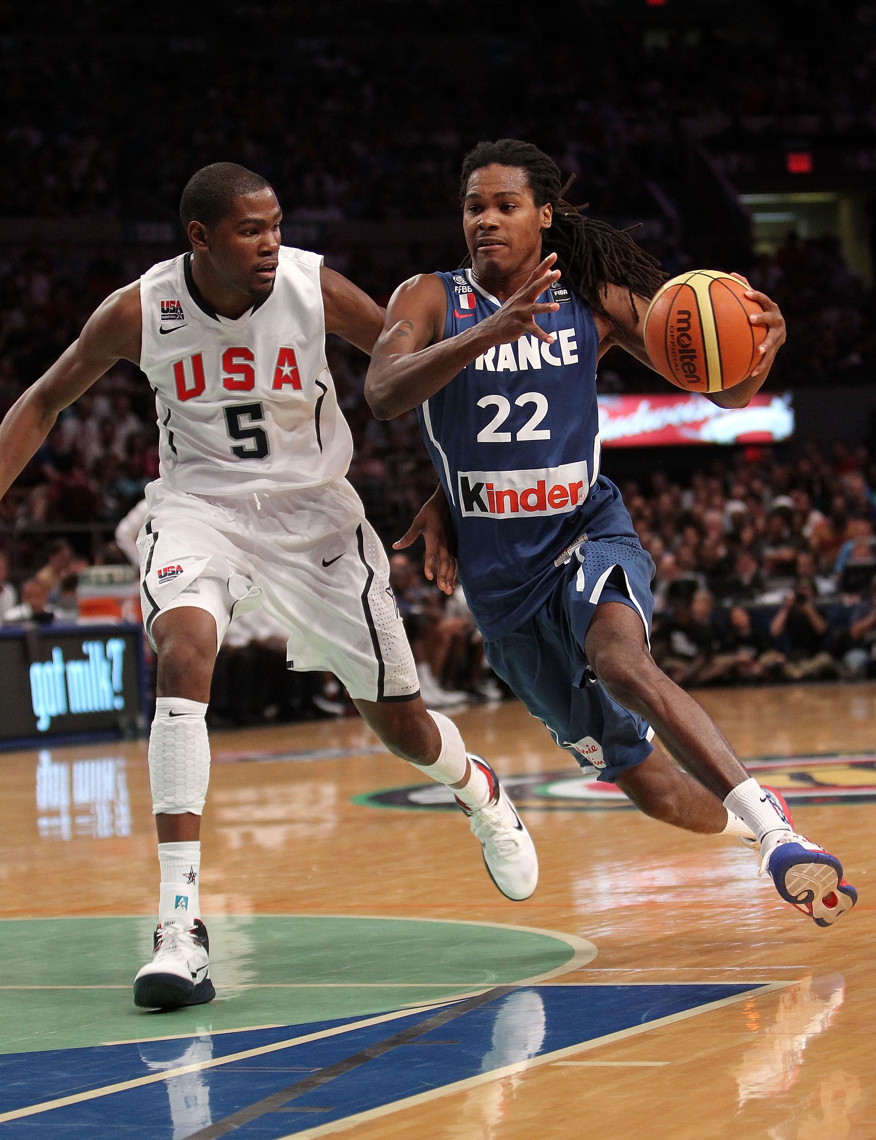 b34955eee2b NEW YORK - AUGUST 15  Mickael Gelabale  22 of France drives to the basket